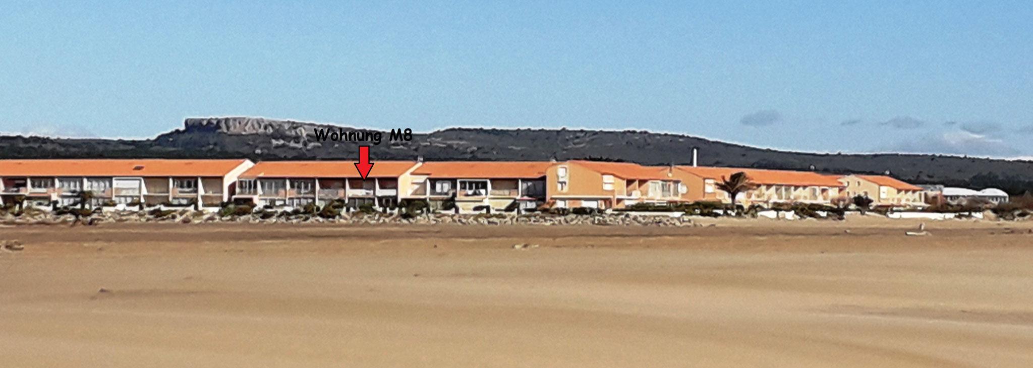 Localisation de l'appartement M8 sur la plage