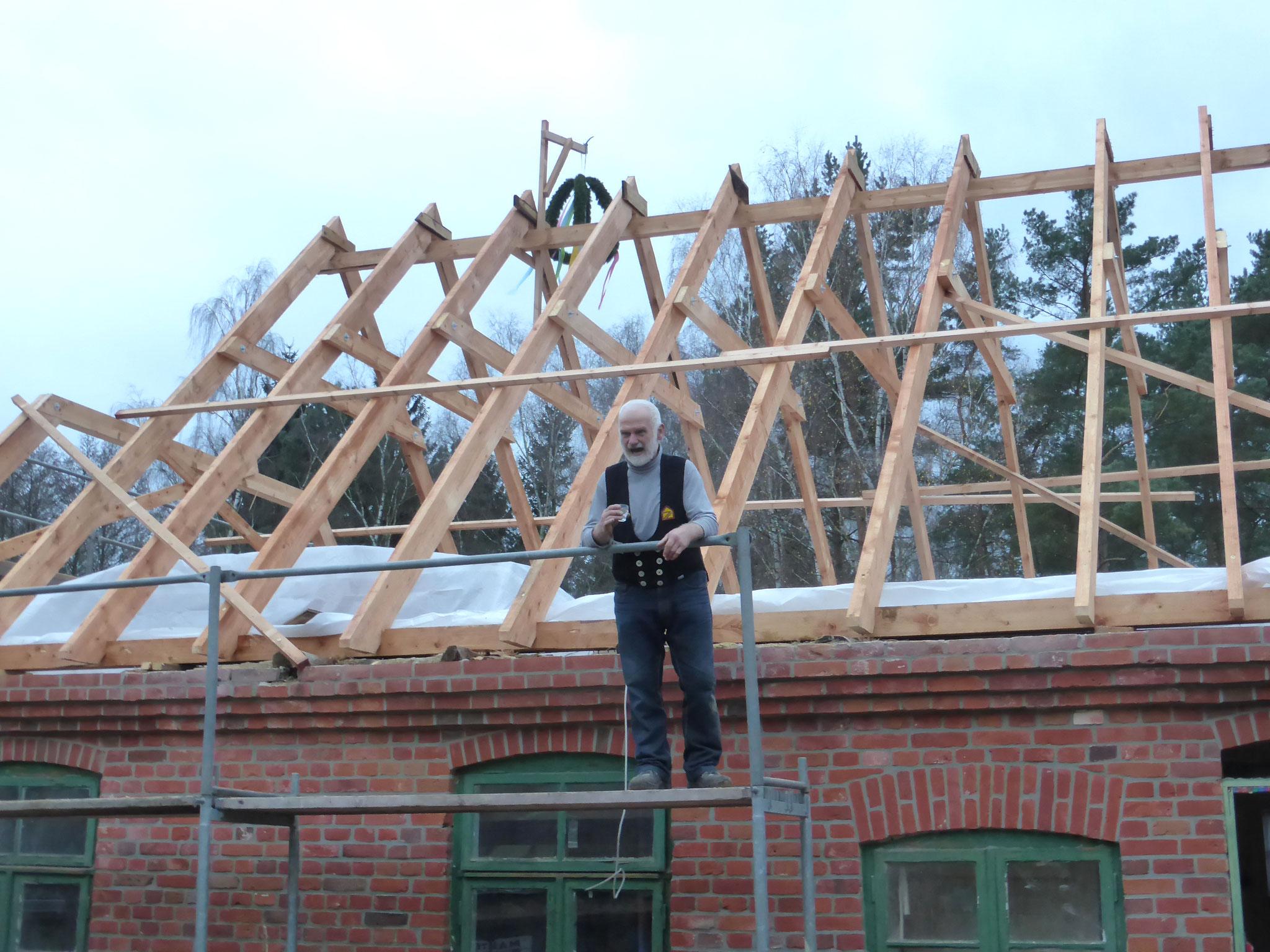Richtfest des neuen Dachstuhls im Jahr 2013