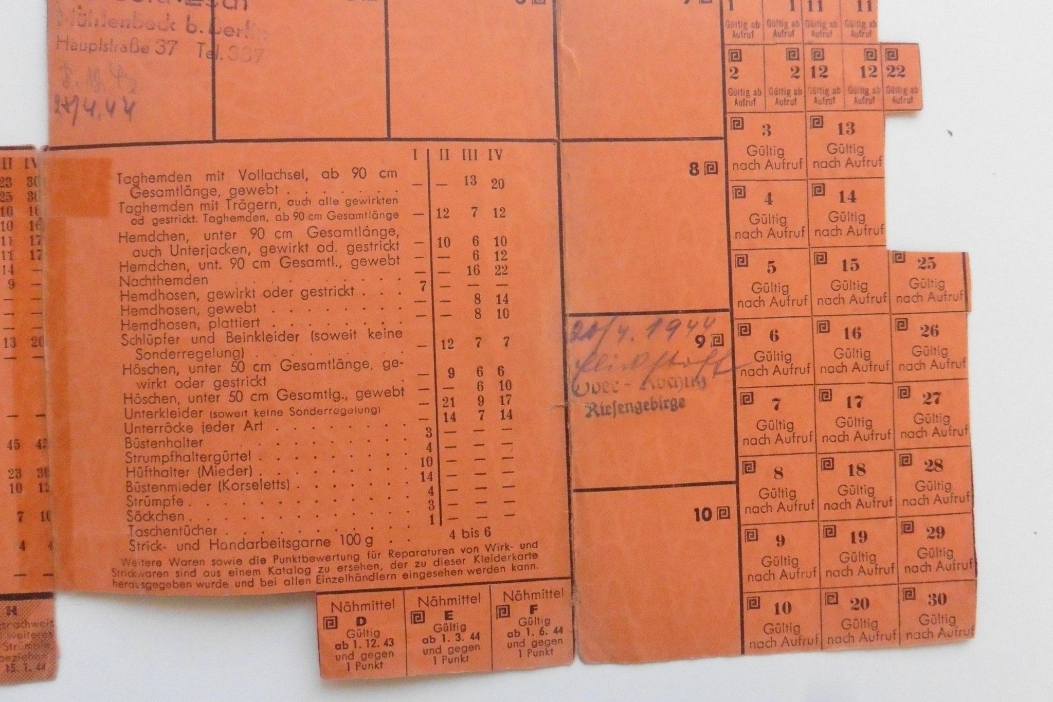 Reichskleiderkarte von 1944