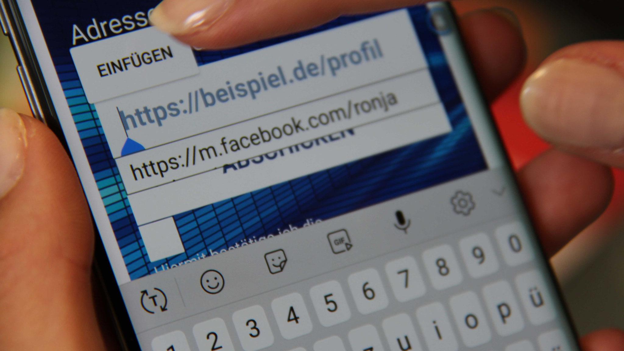 Dann kopiert der Bewerber den Link zu einem seiner Social-Media-Profile...