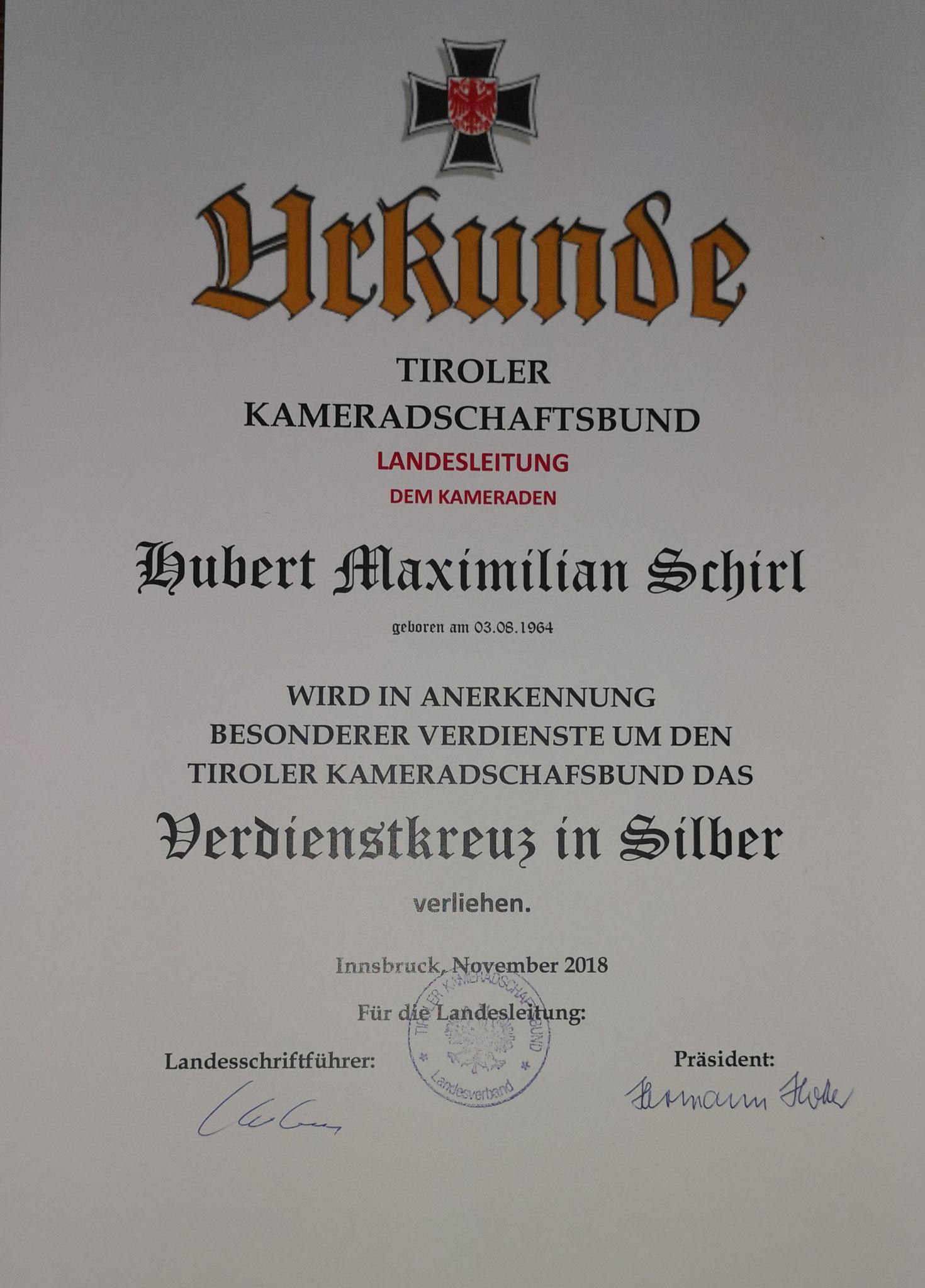 Silbernes Verdienstkreuz des Tiroler Kameradschaftsbund