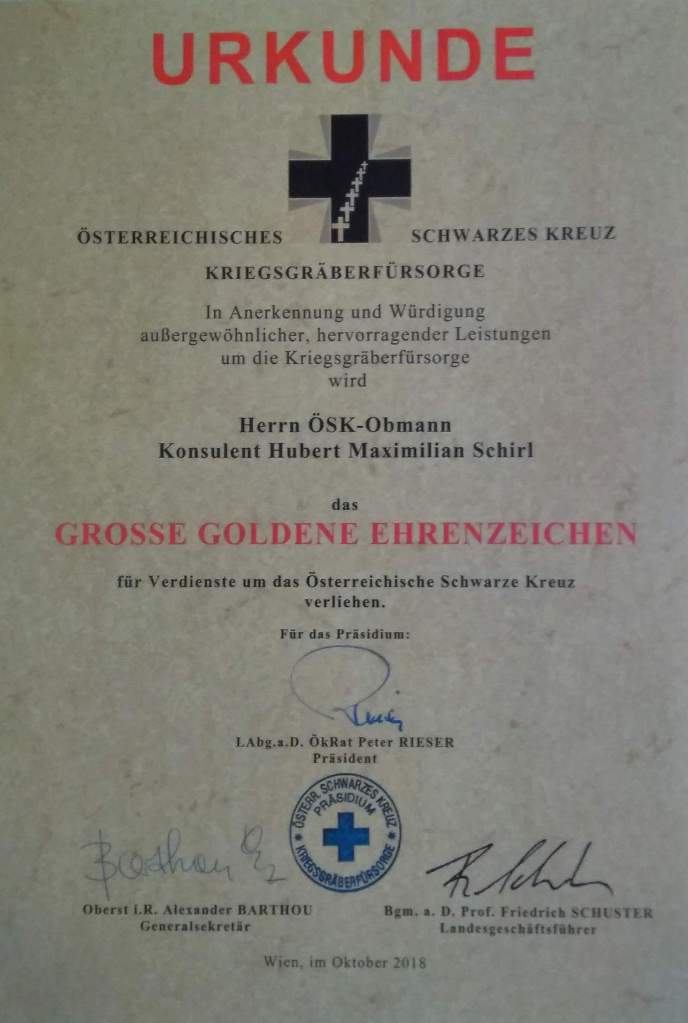 Österr. Schwarzes Kreuz, Großes Goldenes Ehrenzeichen, am 19.10.2018 in Linz