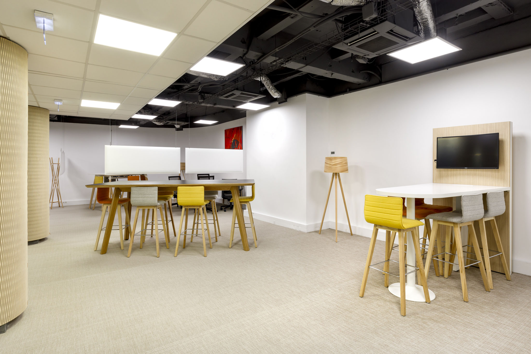 les espaces distincts dans un espace de co-working partagé