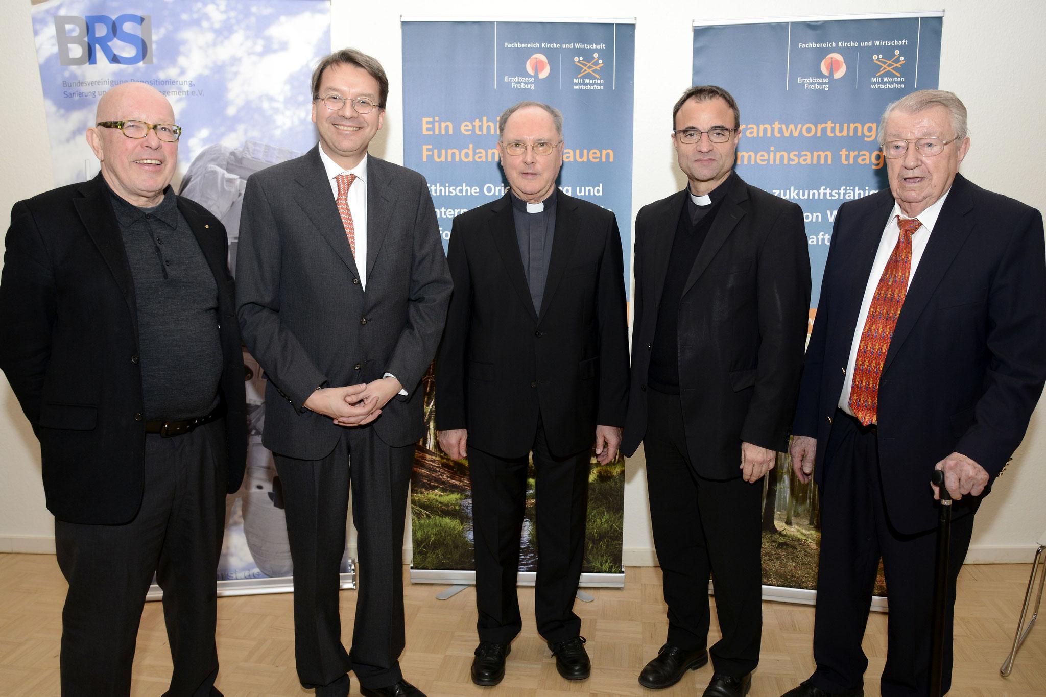 Dr. Dieter Körner (BRSI), Dr. Andreas Gröpl (Fachbereich Kirche und Wirtschaft Nordbaden), Dr. Axel Mehlmann (Generalvikar Freiburg),  Karl Jung (Stadtdekan des Dekanates Mannheim), Karl Miltner (Regierungspräsident a. D.), Bild Copyright Helmut G. Roos