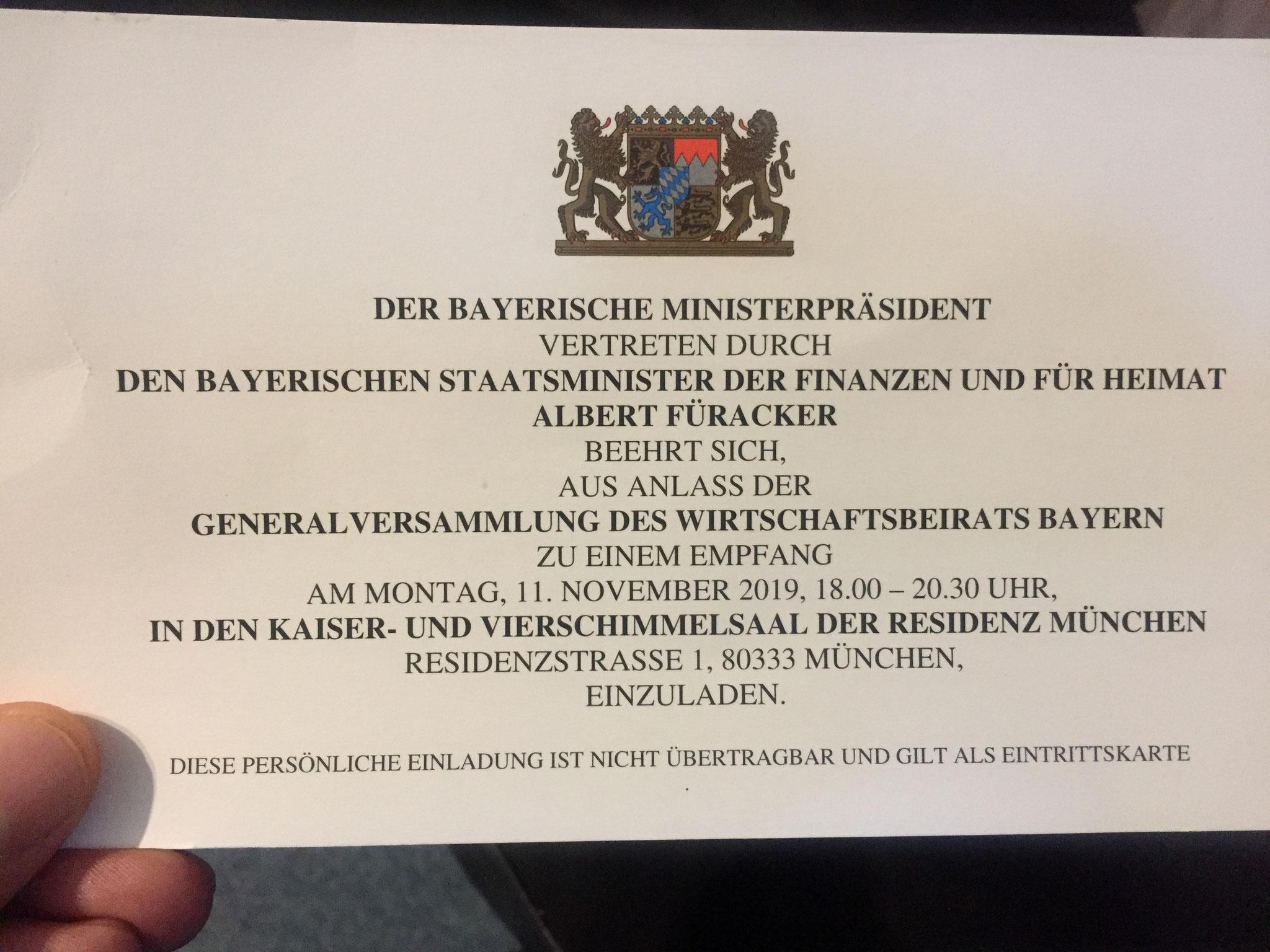 Der Bayerische Ministerpräsident Dr. Markus Söder lädt die Mitglieder des Wirtschftsbeirates der Union in die Residenz München ein
