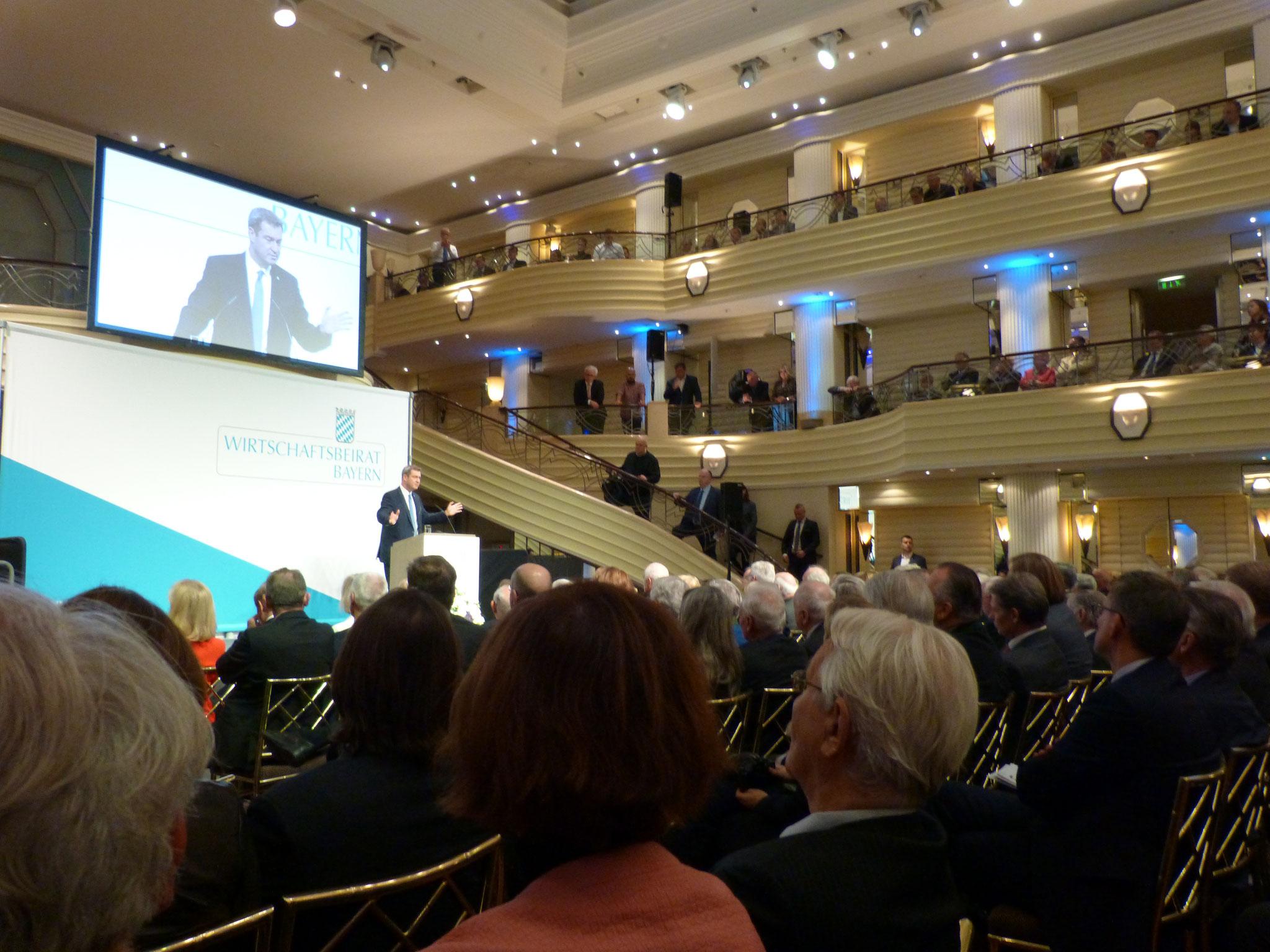 Ministerpräsident Dr. Markus Söder bei seiner Rede vor den Mitgliedern des Wirtschftsbeirates der Union