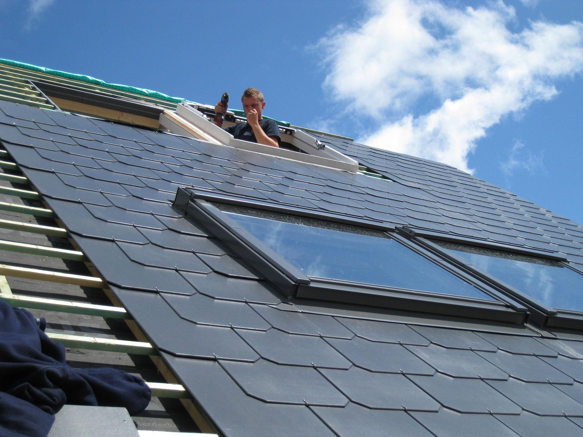 Placement de l'ensemble des fenêtres de toit.