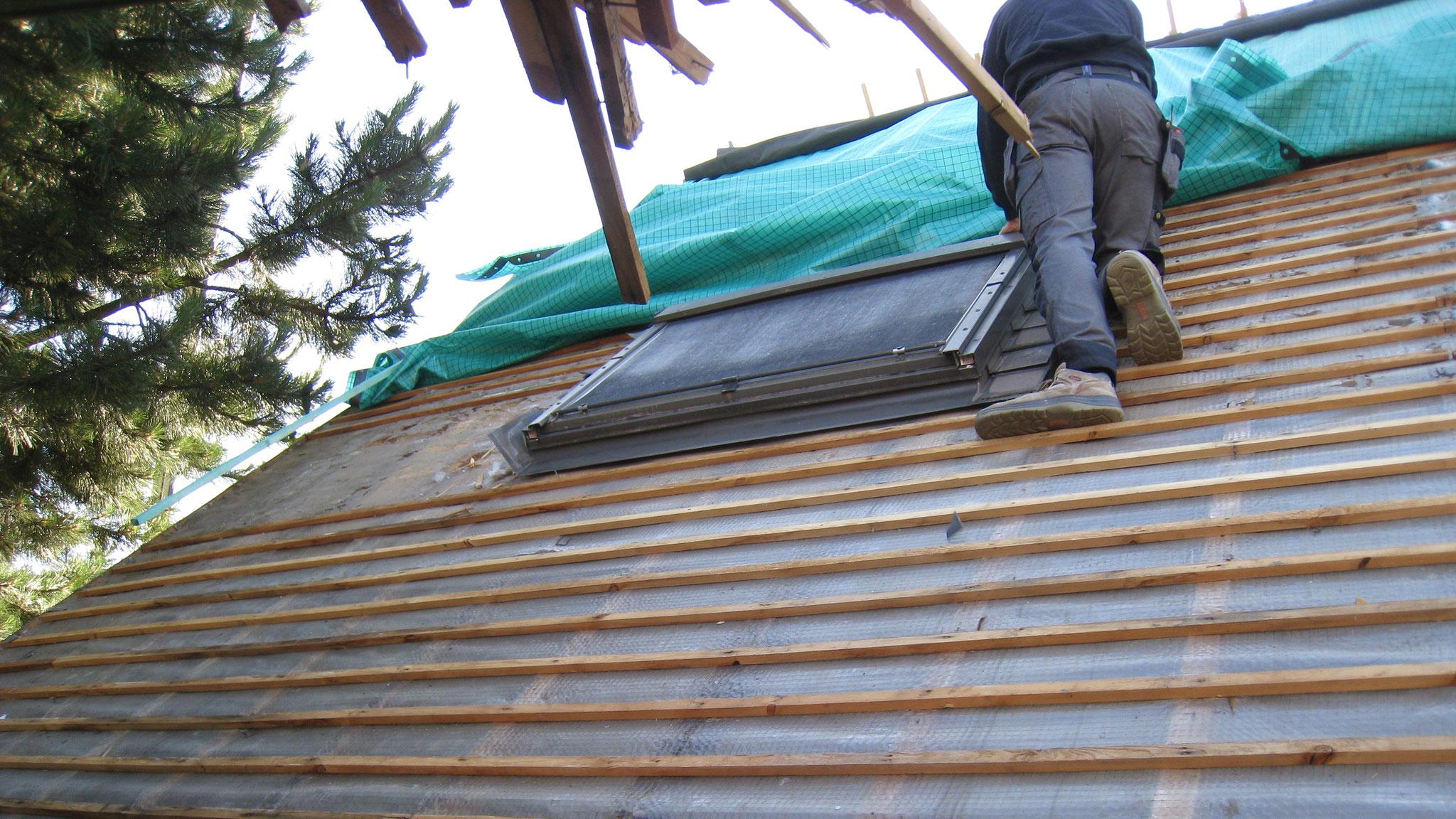Protection de la toiture nue par bache