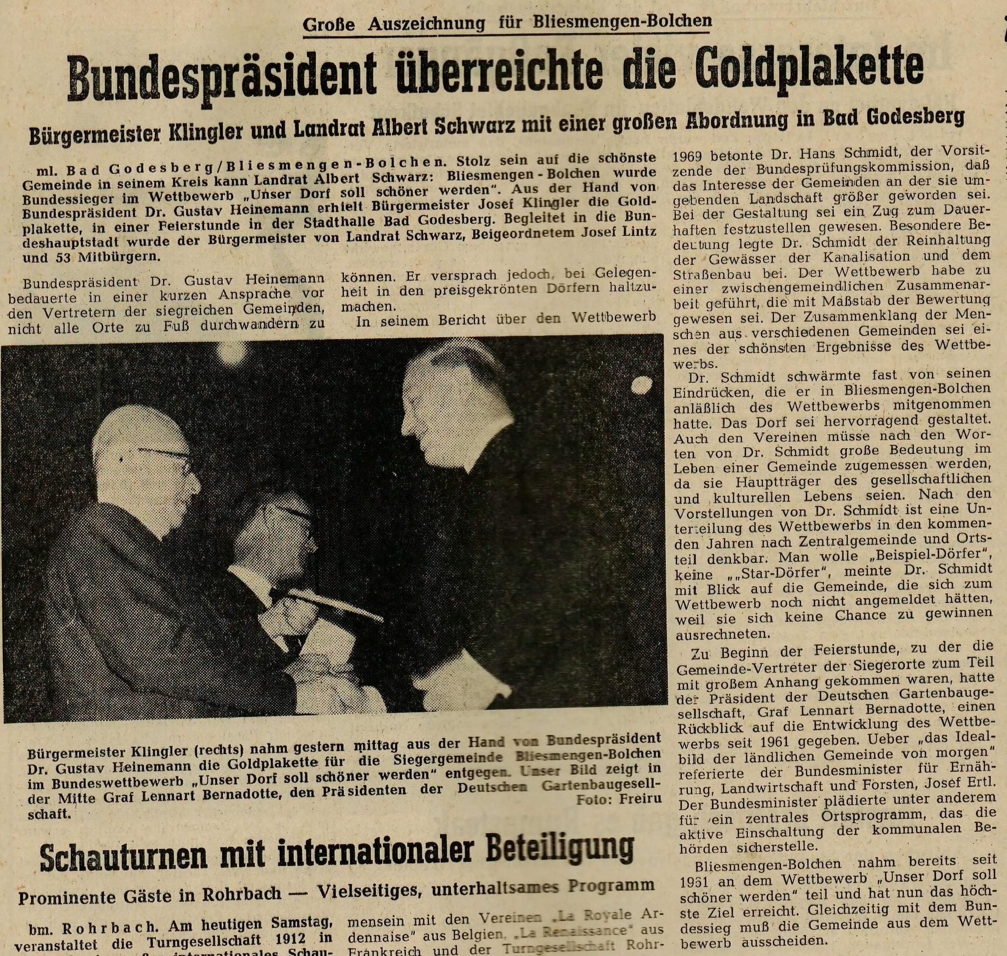 """Artikel aus der """"Westpfälzischen Rundschau"""" vom 19.11.1969"""