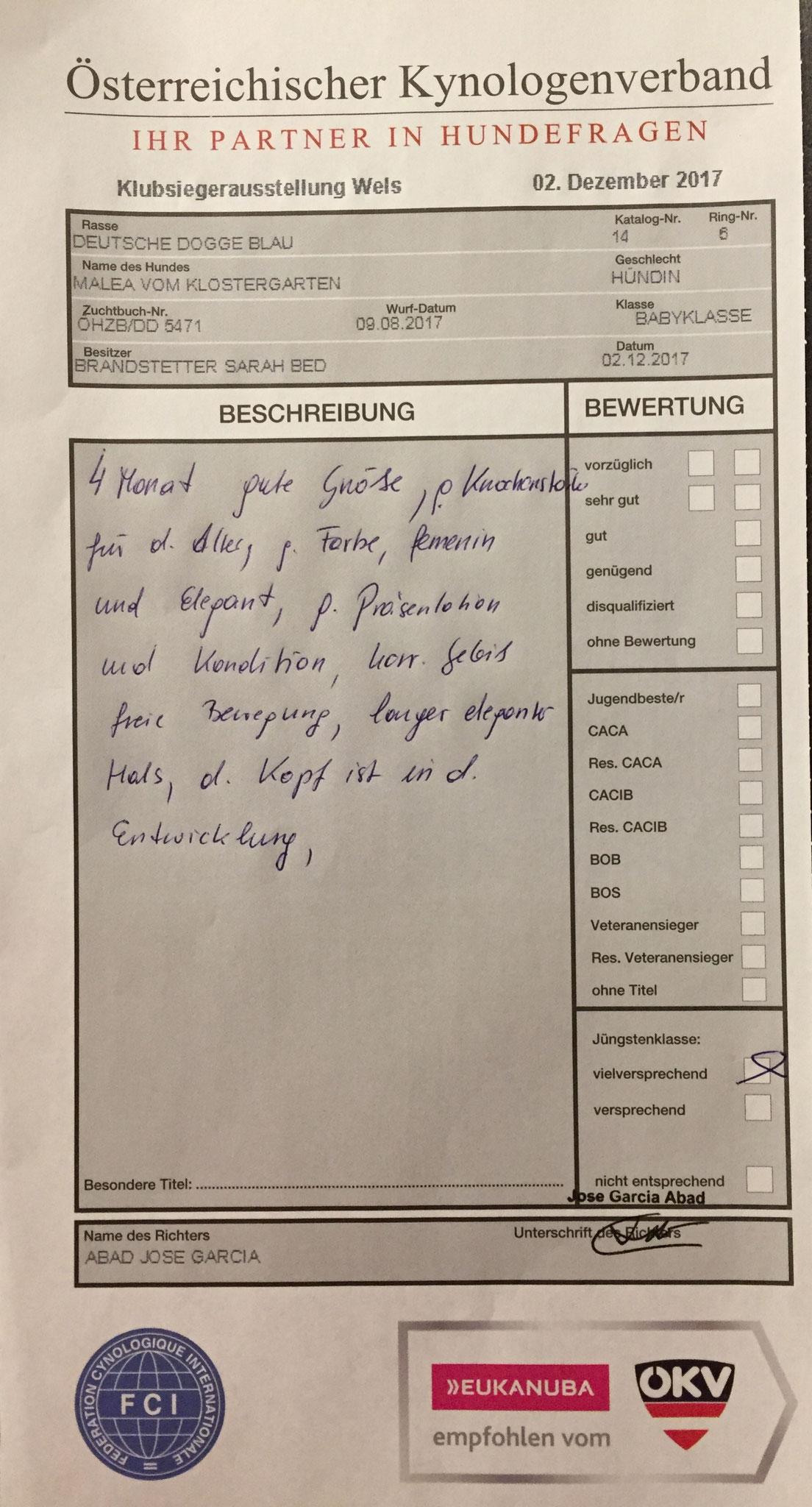 Bewertung Malea vom Klostergarten 2.12.17