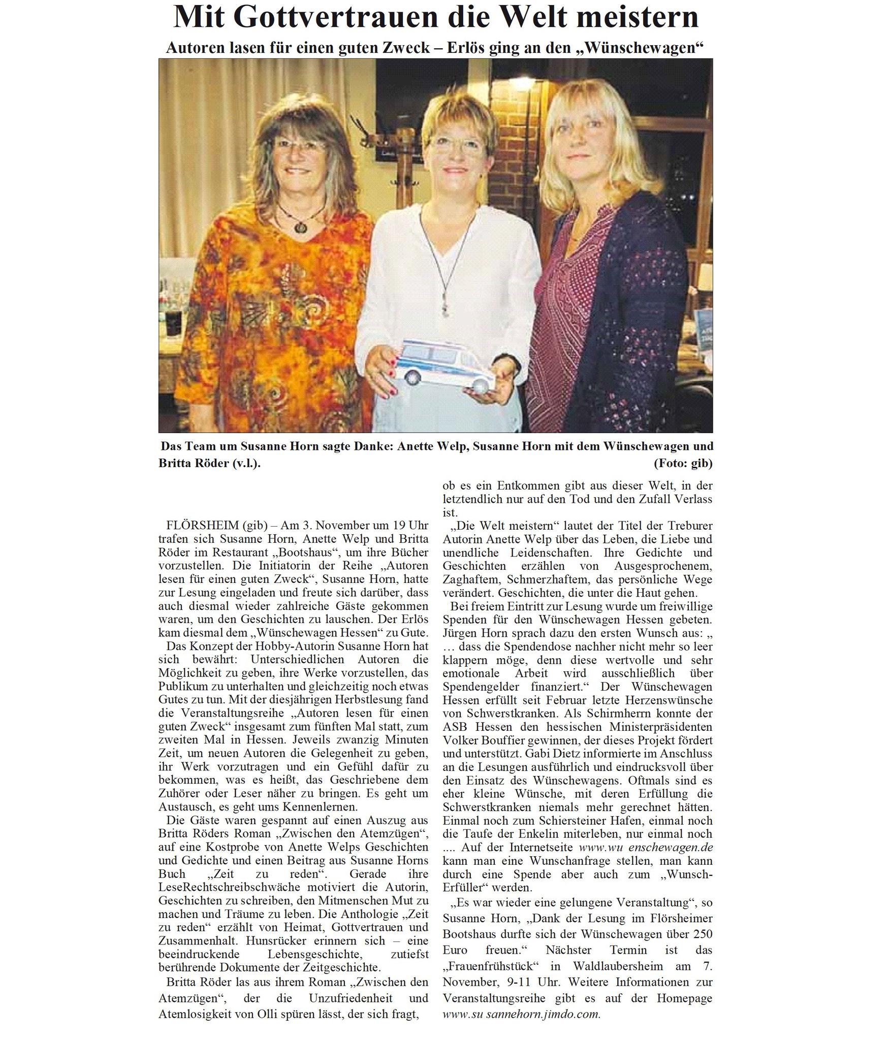 Vielen DANK an Frau Engel von der Flörsheimer Zeitung für die Berichterstattung