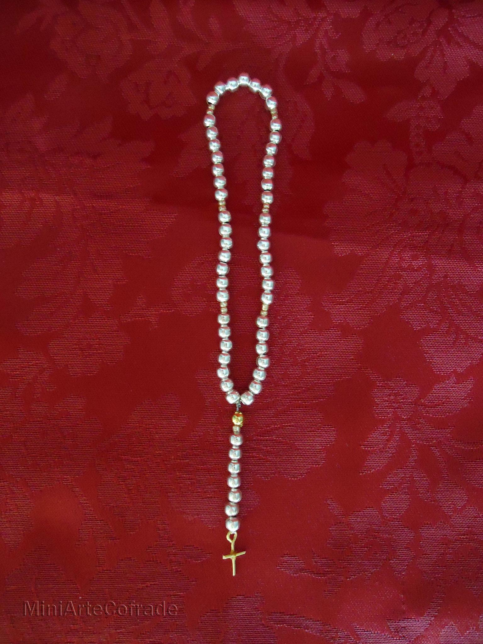 Rosario cuentas metálicas plata para Virgen de 40-50 cm