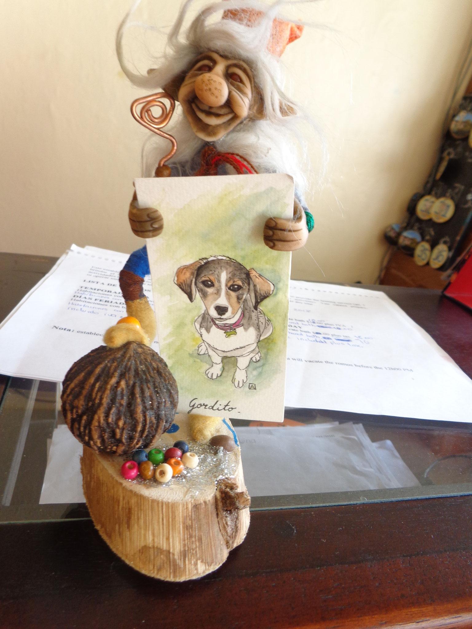 Un dessin de leur chien Gordo pour les remercier