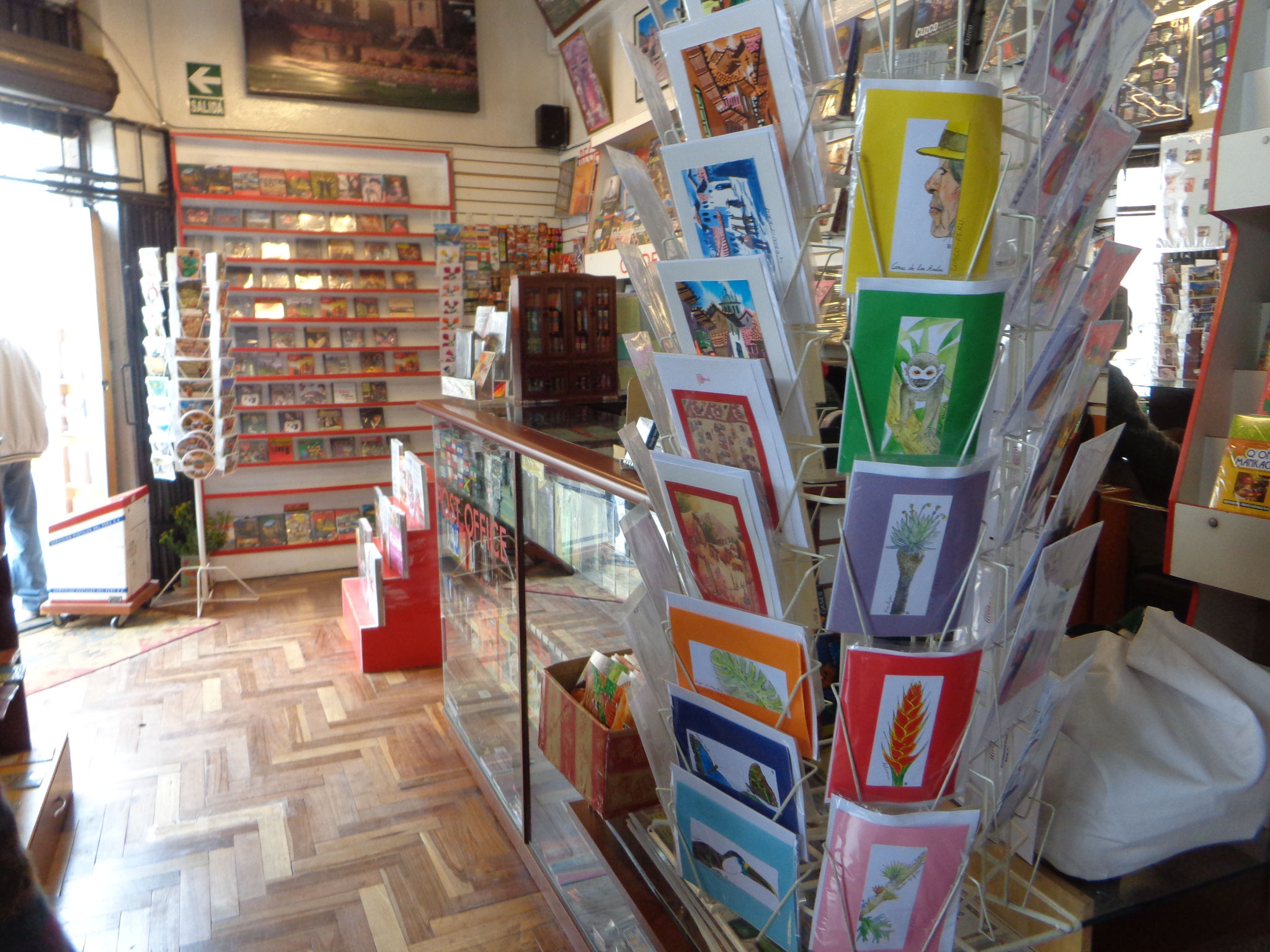 Aquarelles d'Anais mises en vente par une libraire à Cusco