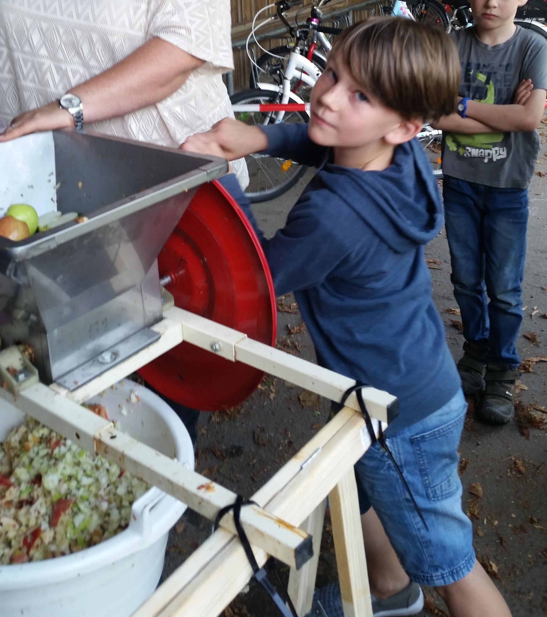 Klaas dreht die Kurbel der Rätzelmühle. Die anstrengende Vorarbeit, bevor die zerkleinerten Äpfel in der Presse zu Saft gemacht werden.