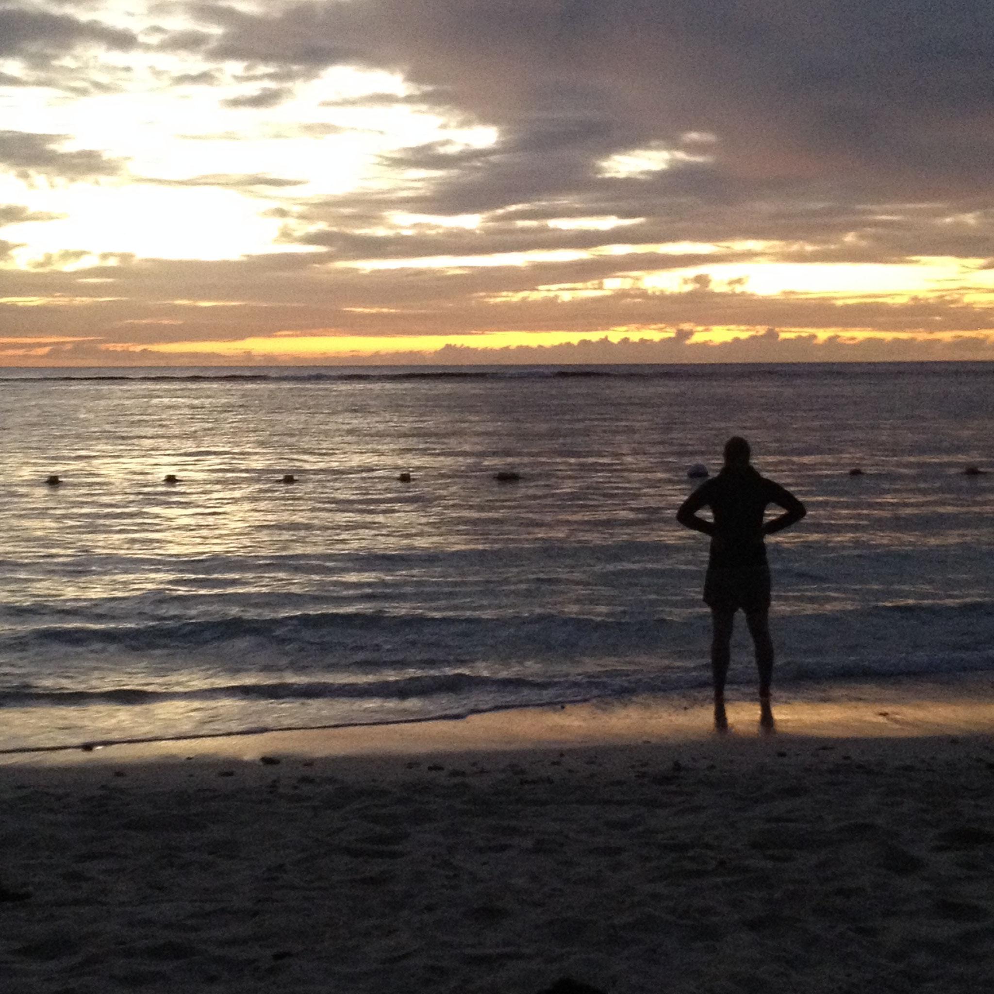 Sonnenuntergang am Strand Flic en Flac