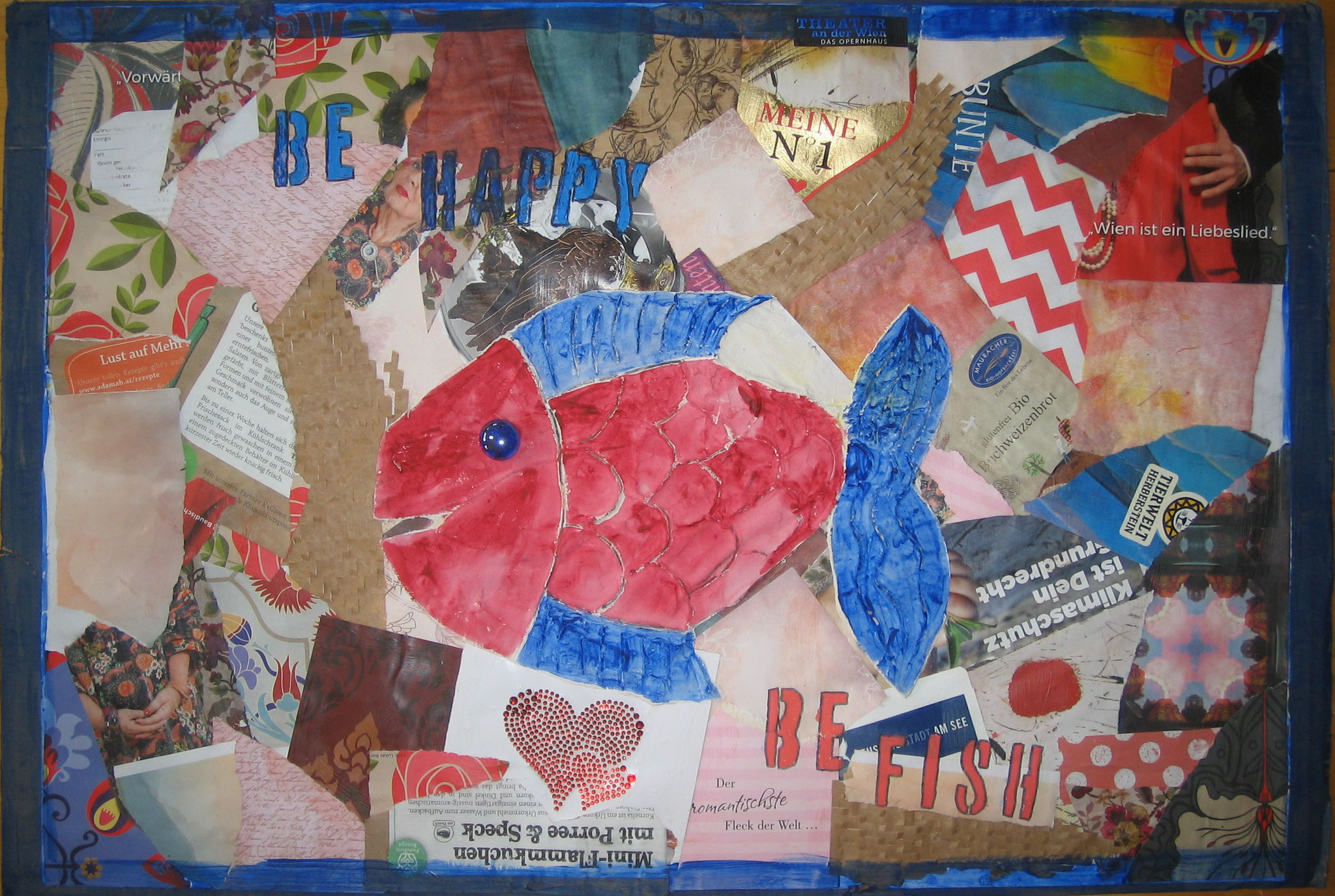 Be happy, be fish (Collage auf Pappe)