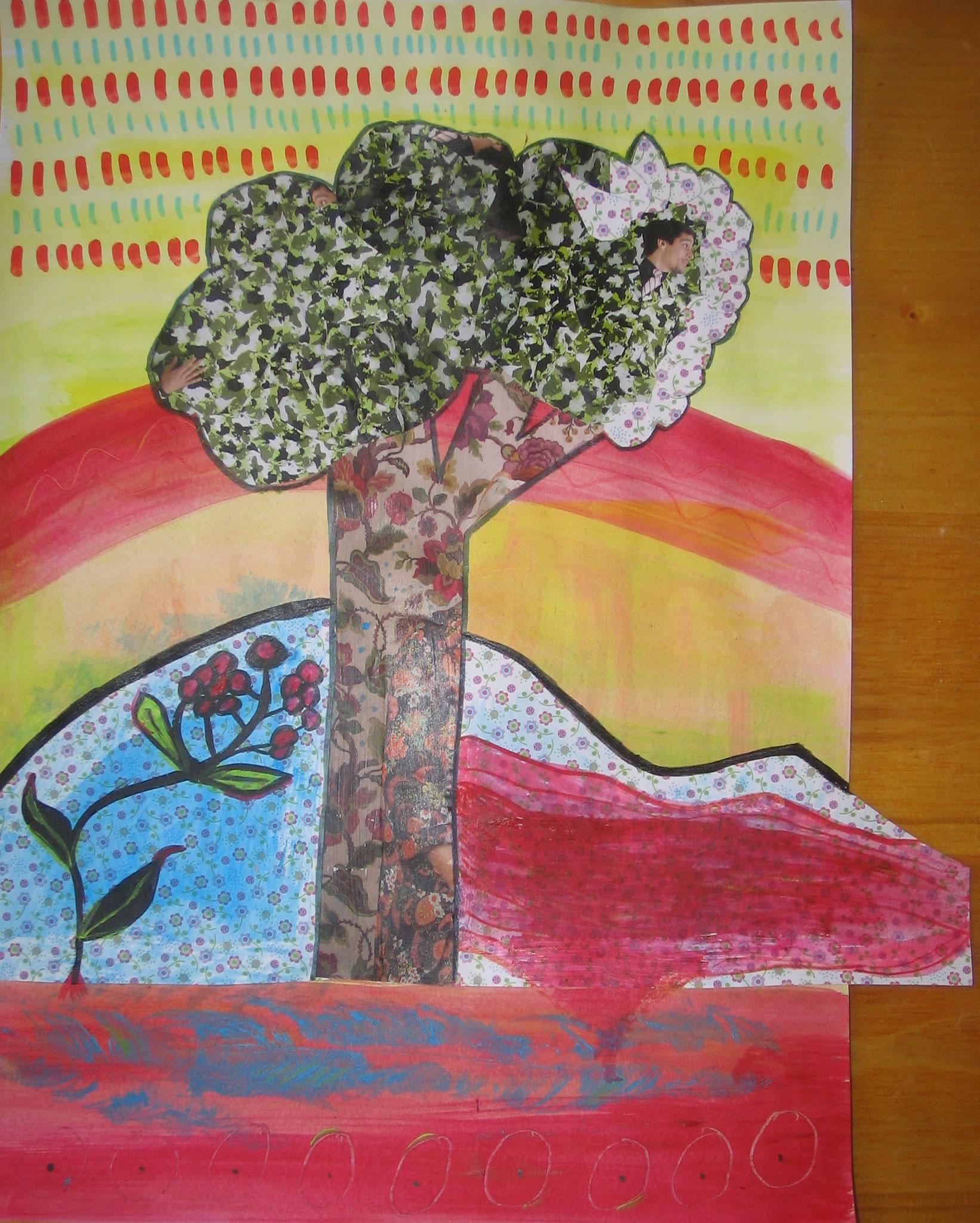 Schaut ein Baum (Collage auf Papier)