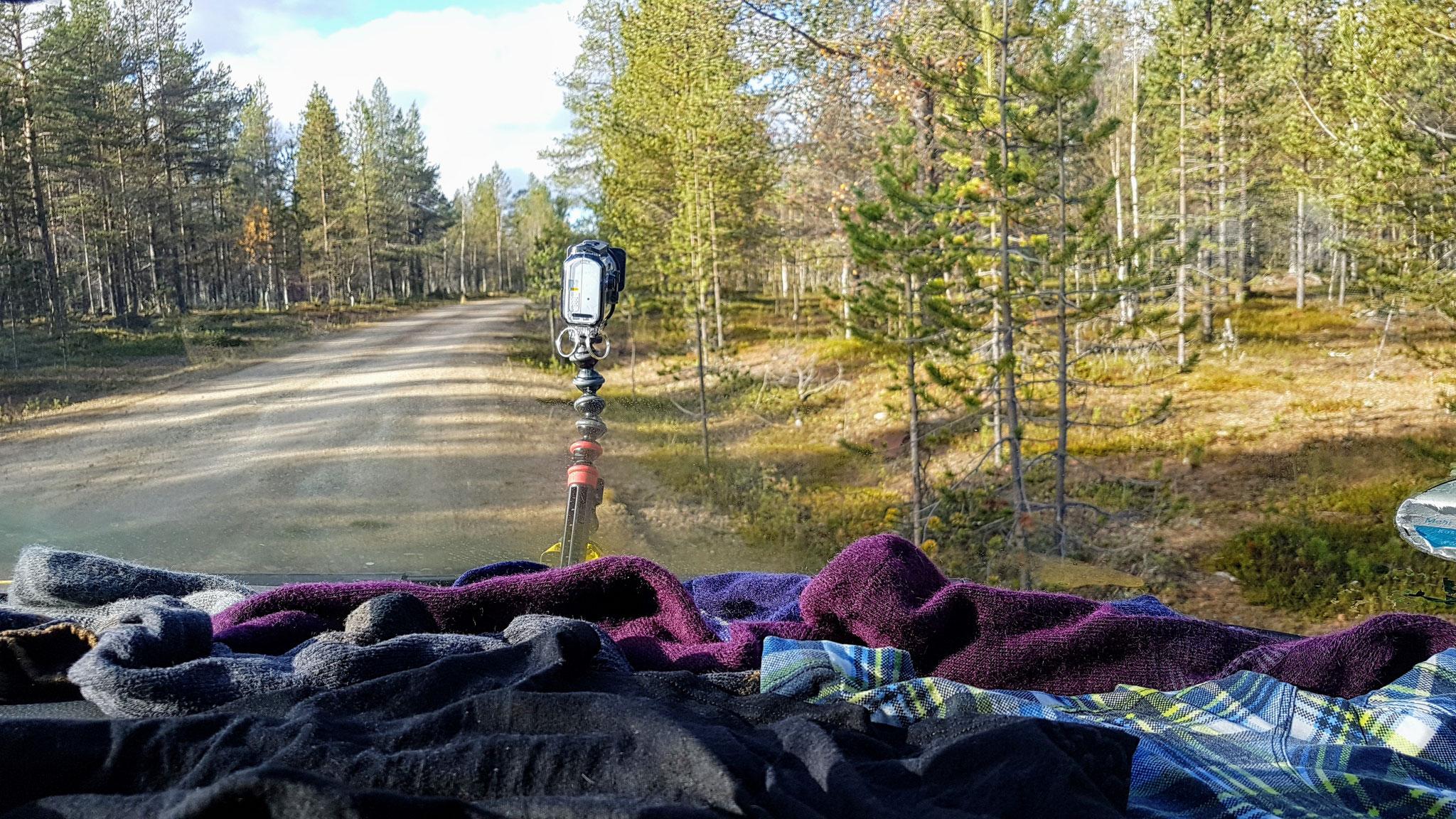 Wäsche trocknen während der Autofahrt