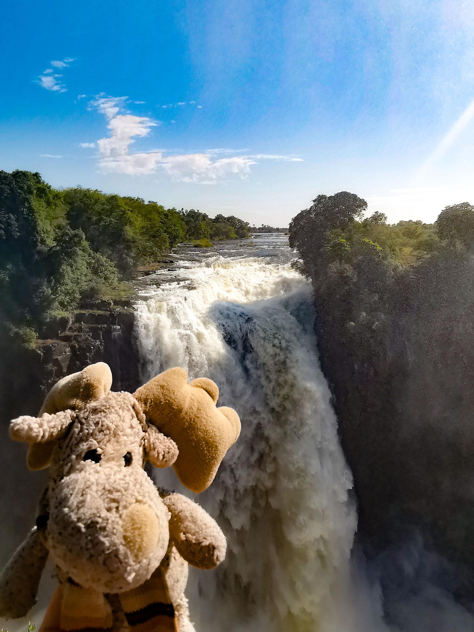 Elli bei den Victoria Wasserfällen (Simbabwe)