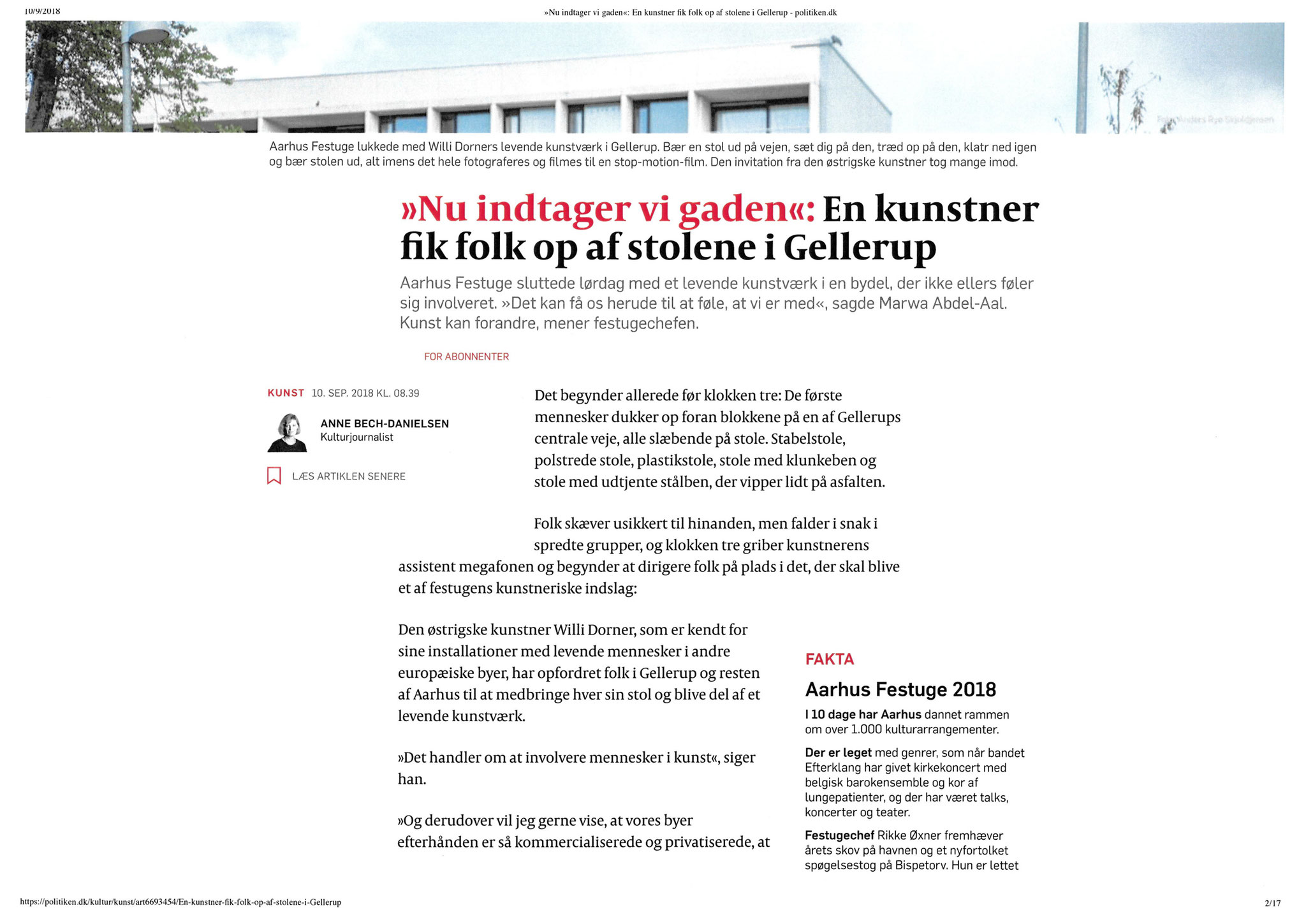 "Article in ""Politiken"" - Sept, 2018"