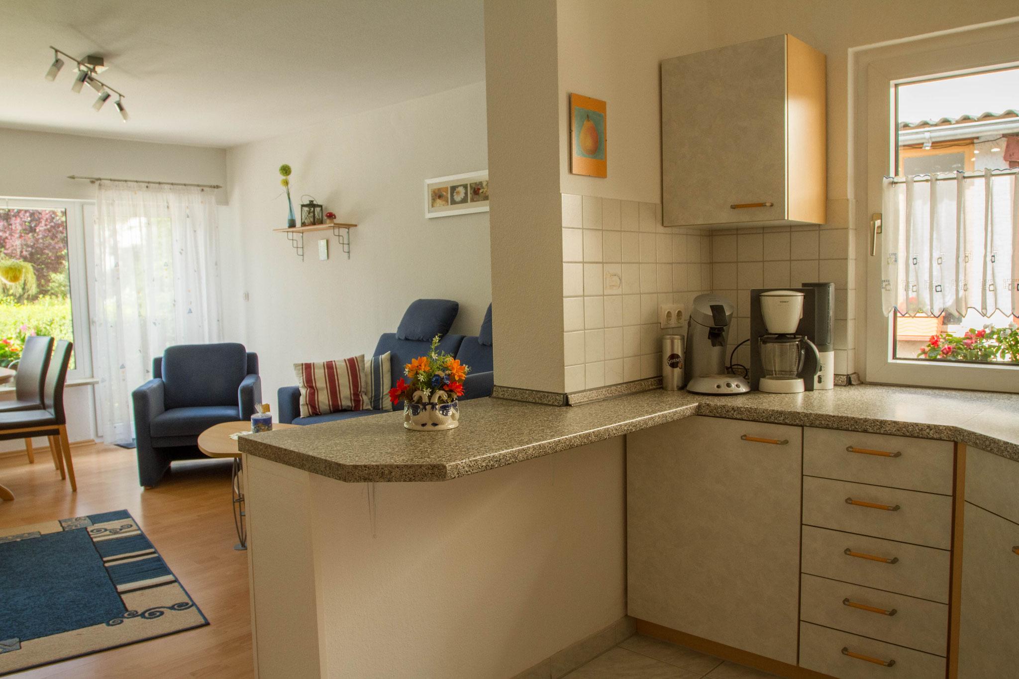 Moderne offene Küche mit geräumiger Arbeitsfläche...