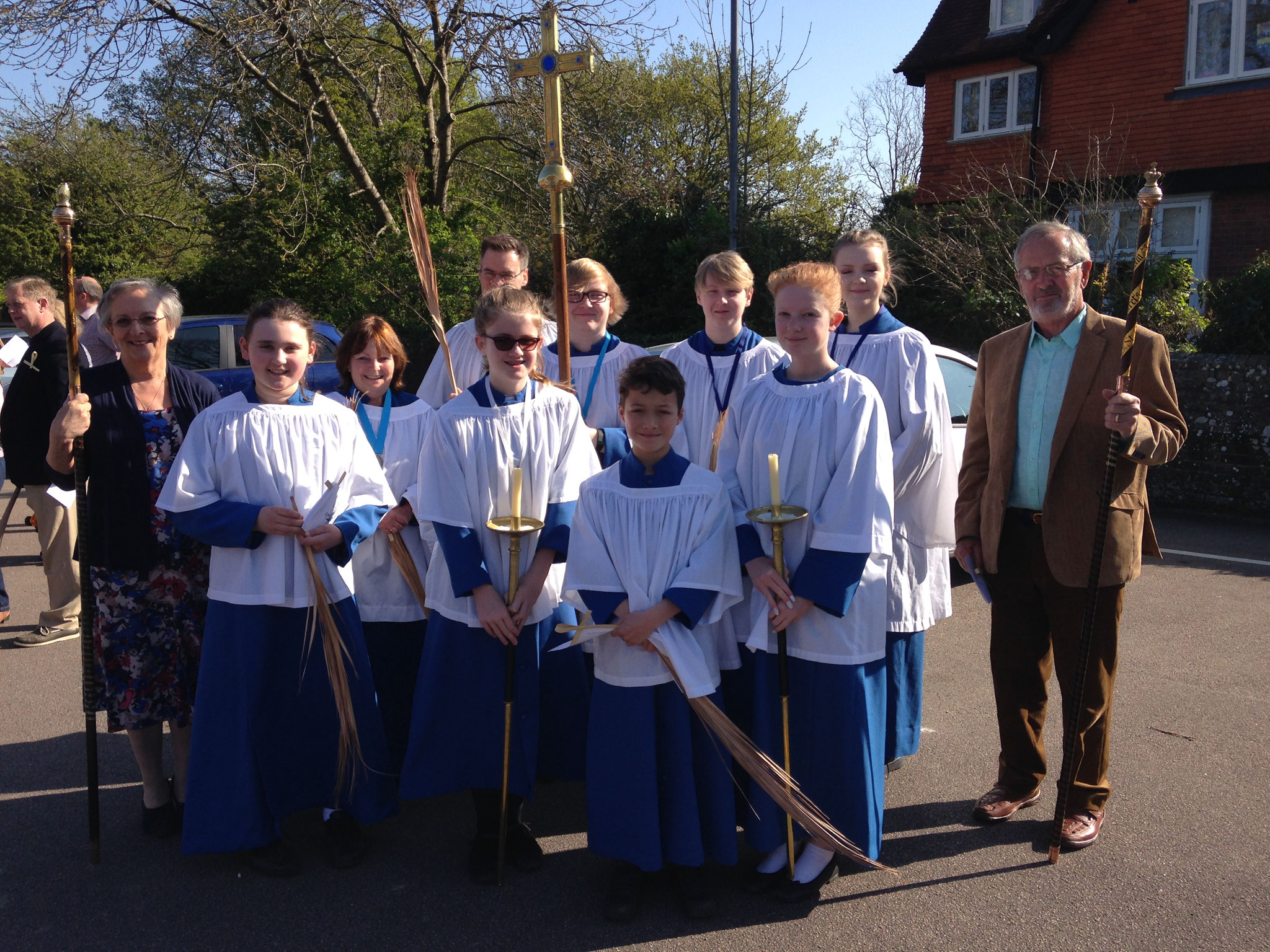 Some of the choir with the Churchwardens