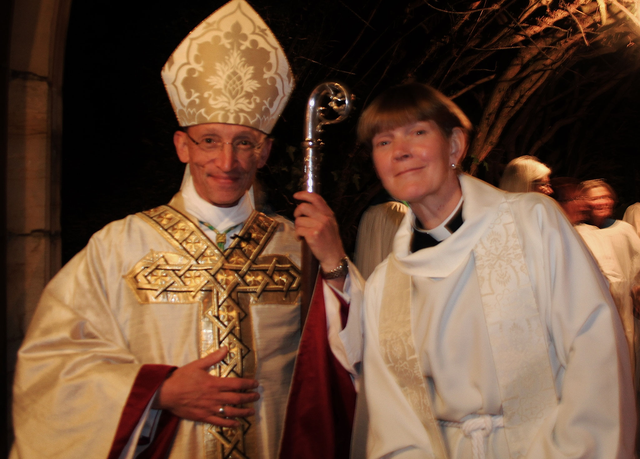 The Bishop with our new priest, Jules