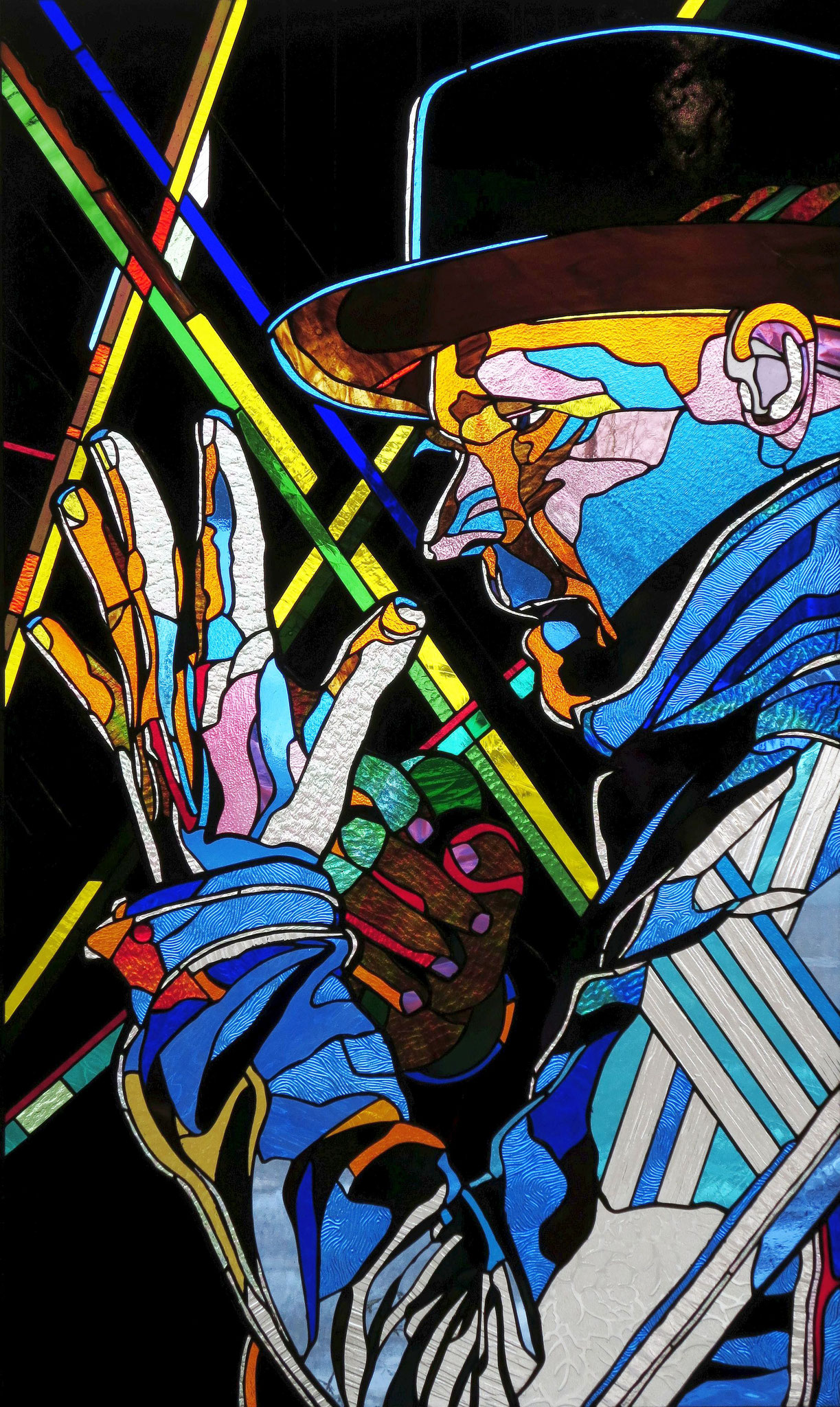 "GORD DOWNIE   41"" X 25"" stained glass panel"
