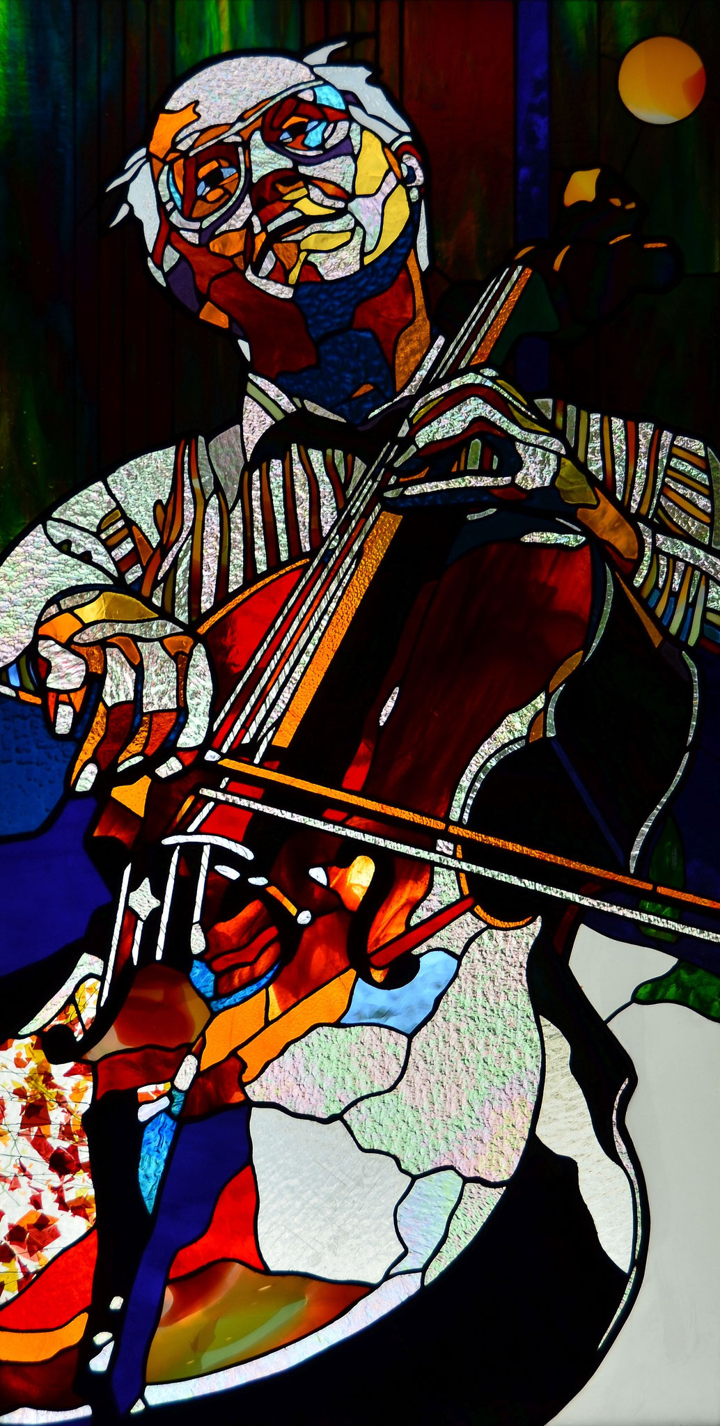 MSTISLAV ROSTROPOVICH  23 x 44 inches stained glass, photo by Lloyd Howell