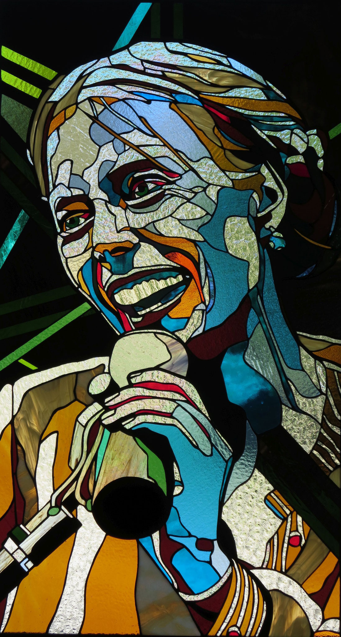 JONI MITCHELL 42 x 23 stained glass panel