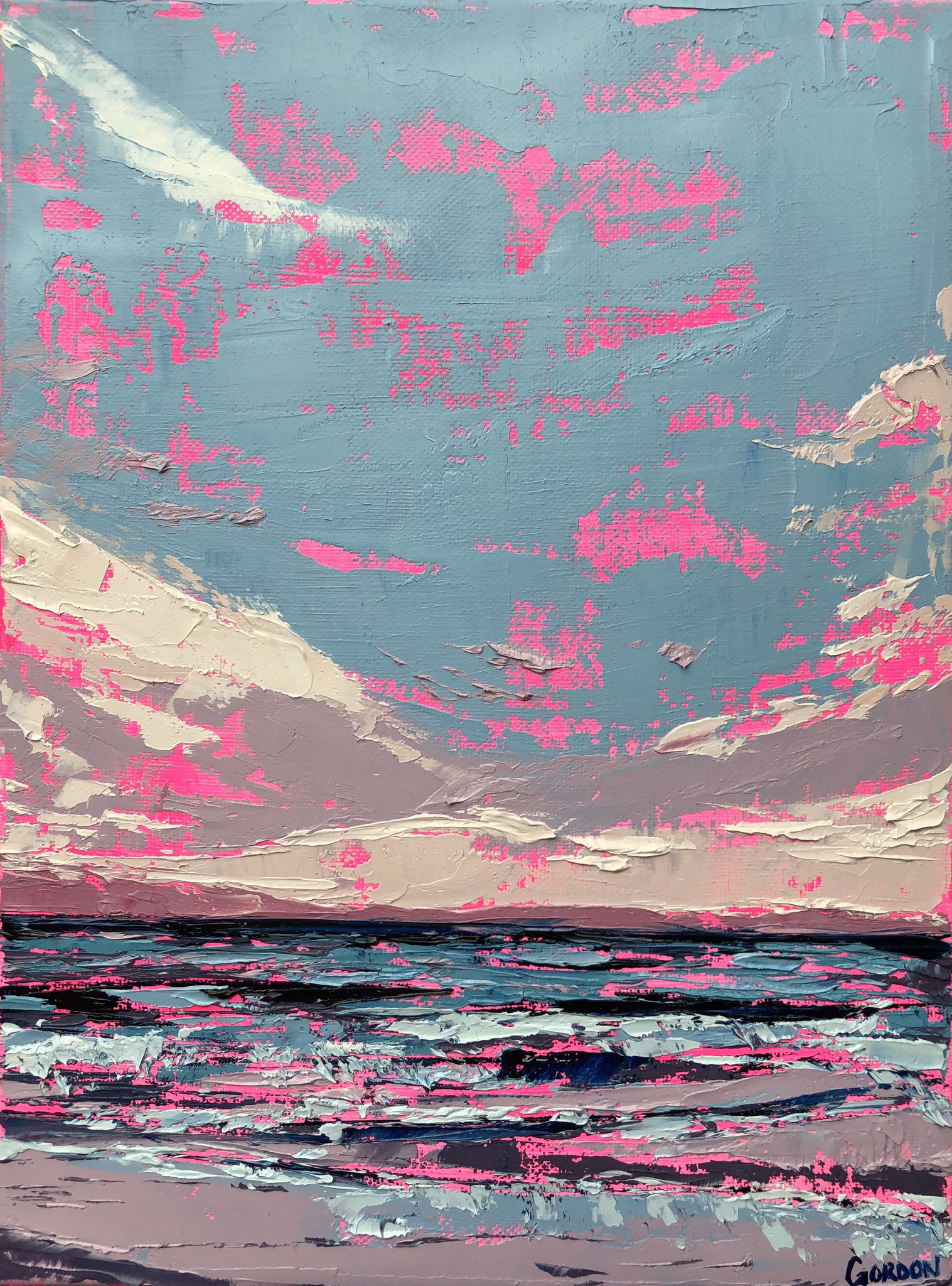 """""""Carter Bay in Pink"""" Oil on canvas, 9"""" x 12"""", 2019"""