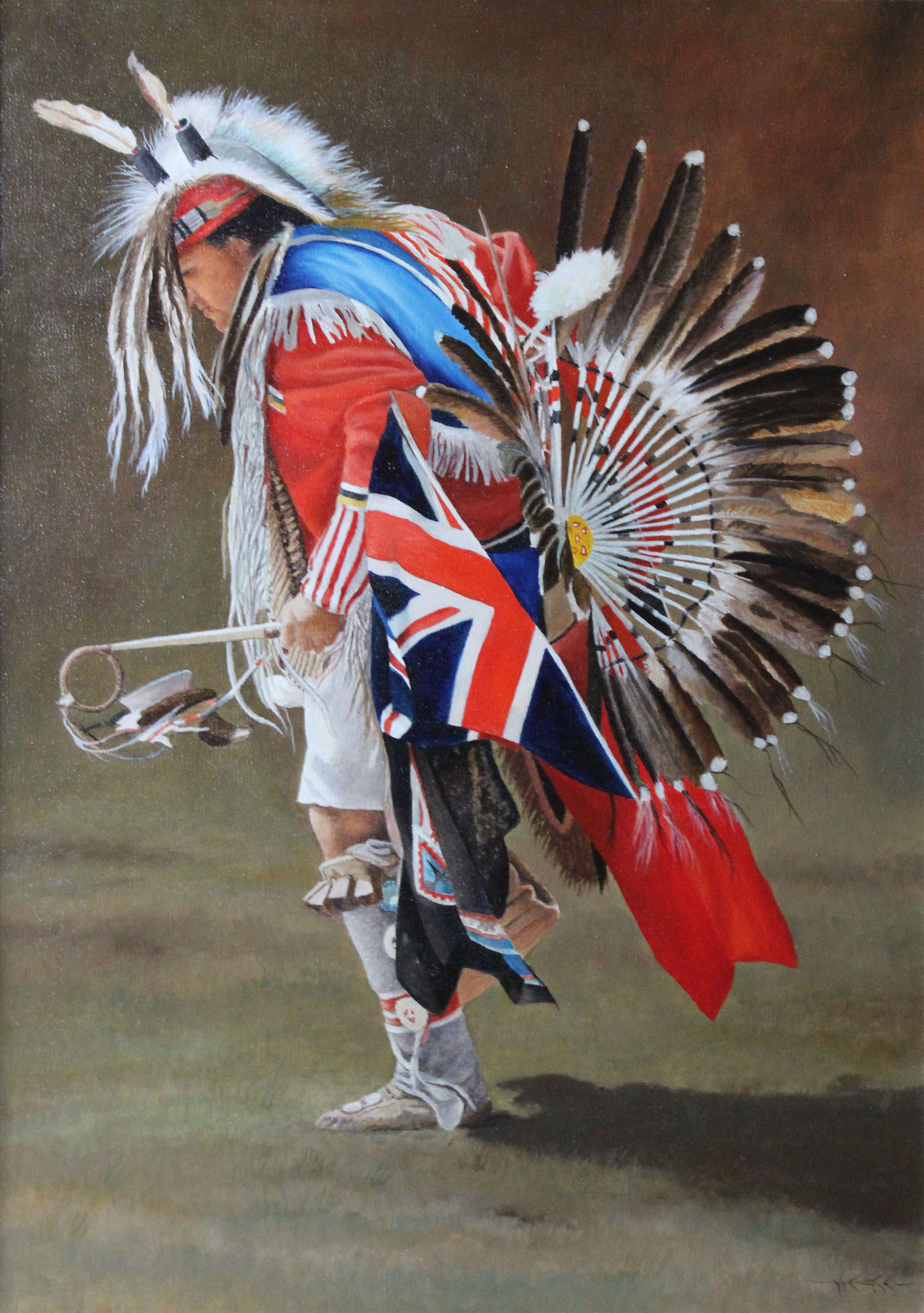 Western Series #7 Indian Dancer, Ivan Wheale 28X20 oil on canvas