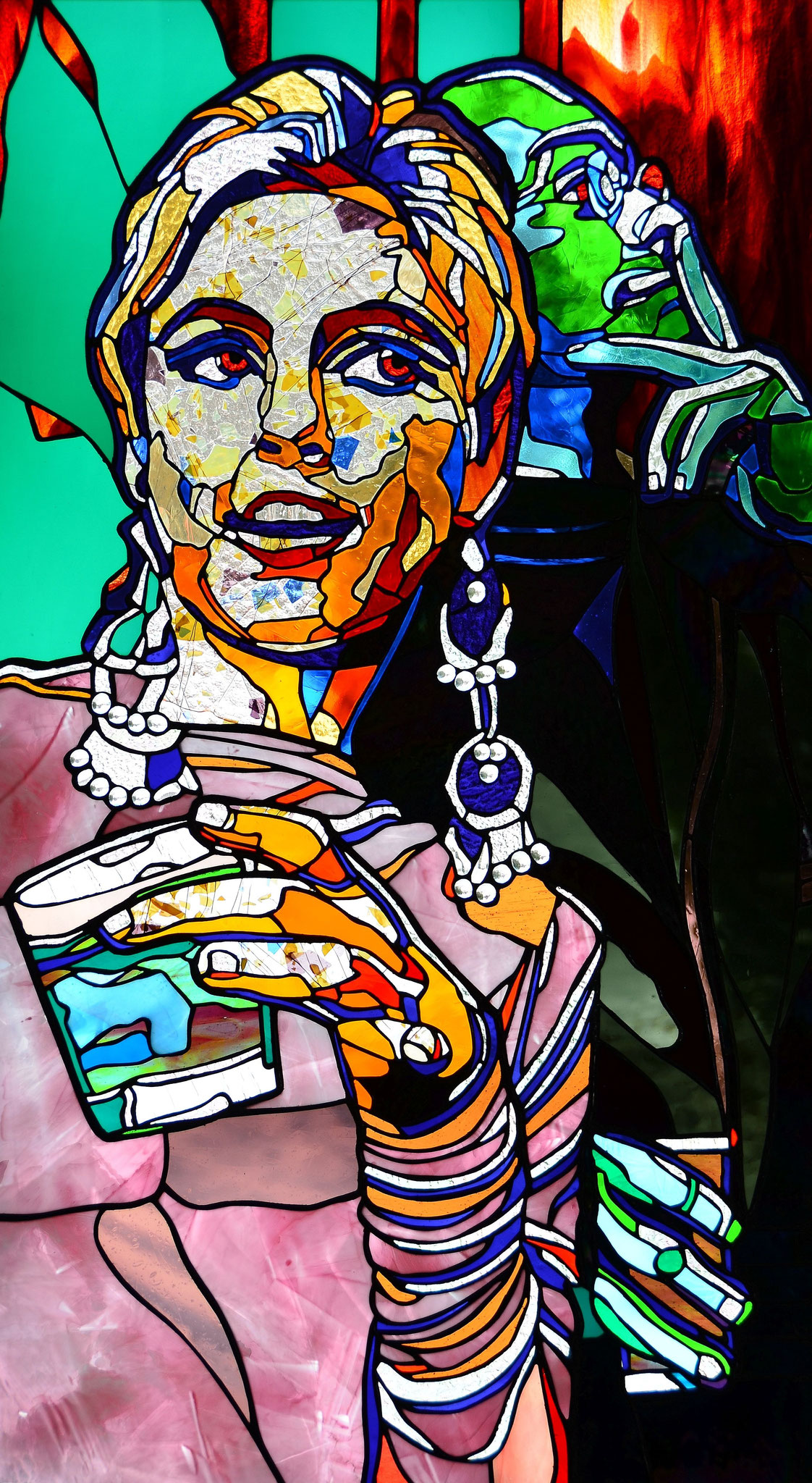 Edie Sedgwick WHERE'S ANDY 24 x 42 inches stained glass, photo by Lloyd Howell