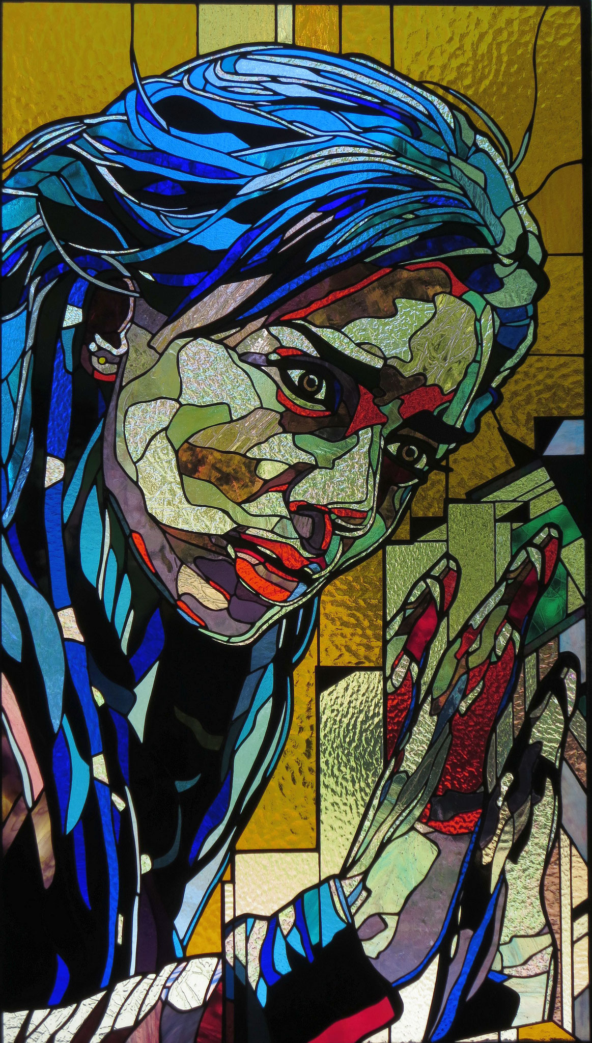 EXPLORATION 26.5 x 47 inches stained glass