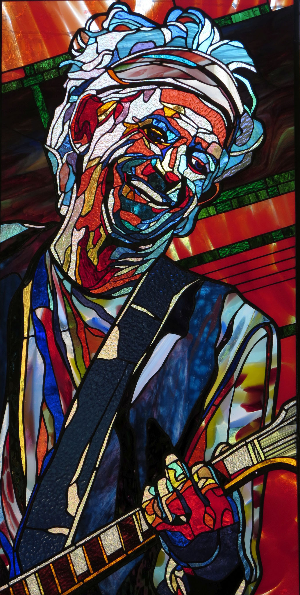 KEITH  23 by 48 inches stained glass, photo by Hadyn Butler