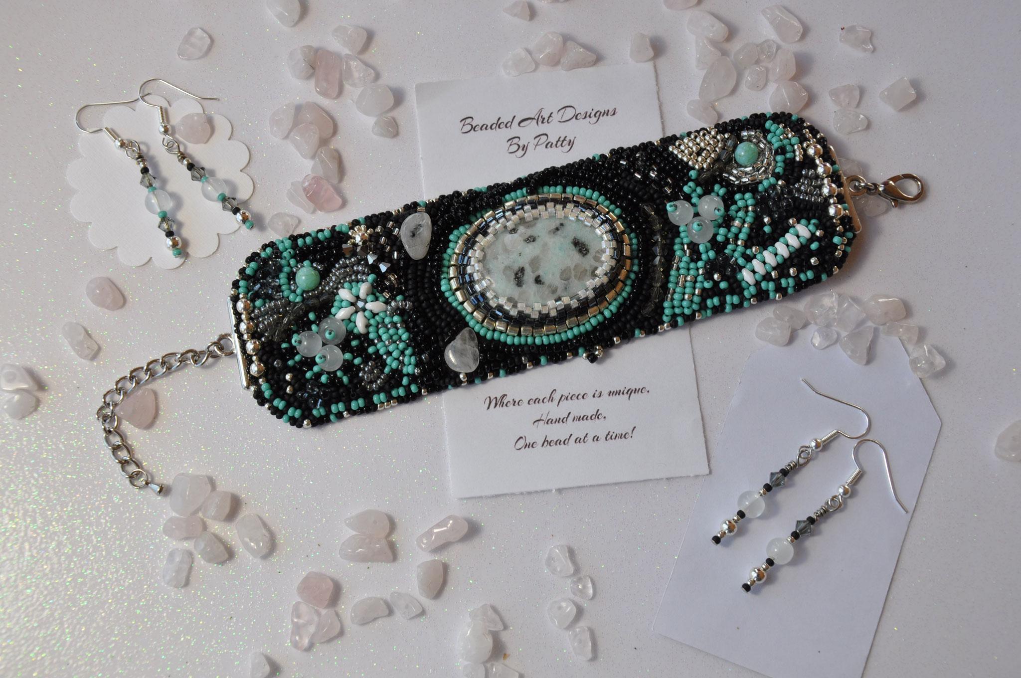 Kiwi Jasper Bead Embroidery Cuff