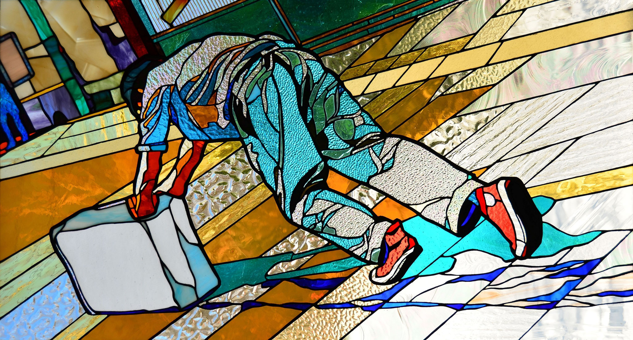 Francis Alys - SOMETIMES MAKING SOMETHING LEADS TO NOTHING 46 x 25 inches stained glass_photo by Lloyd Howell
