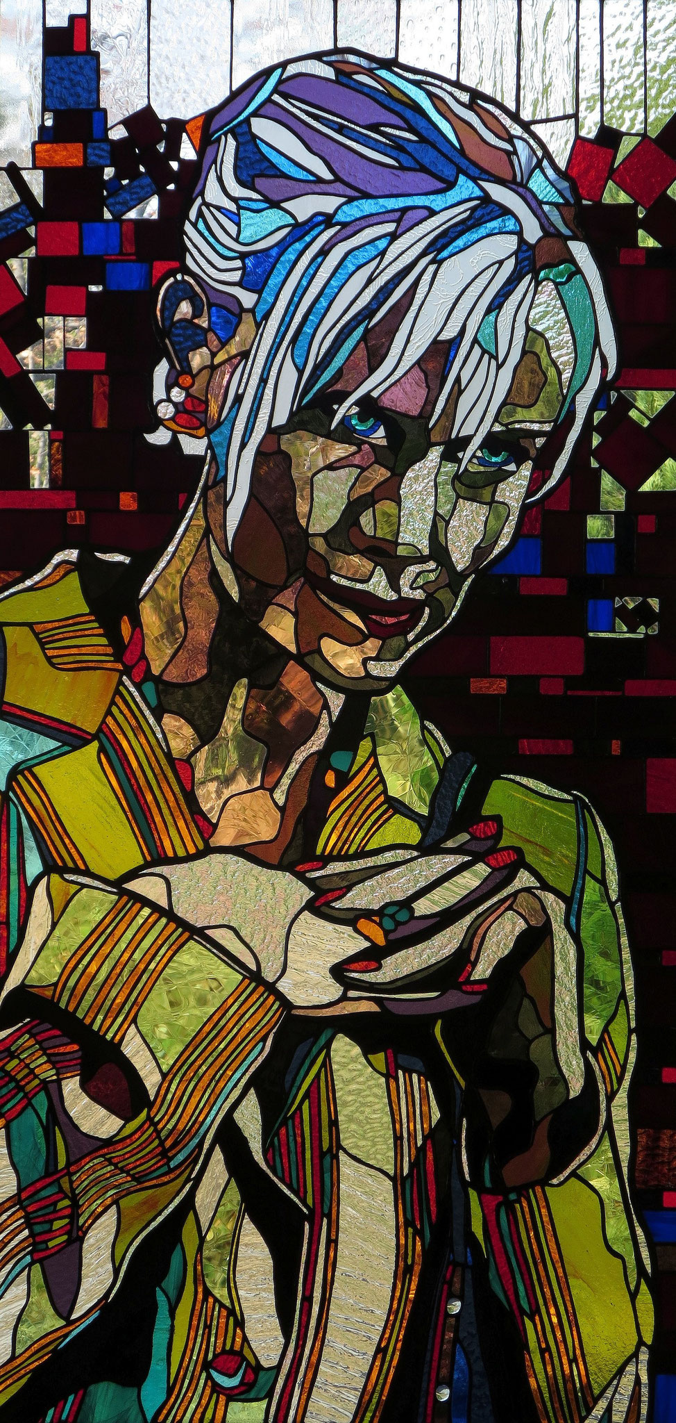SCHEMER  22 x 46 inches stained glass,  photo by Hadyn Butler