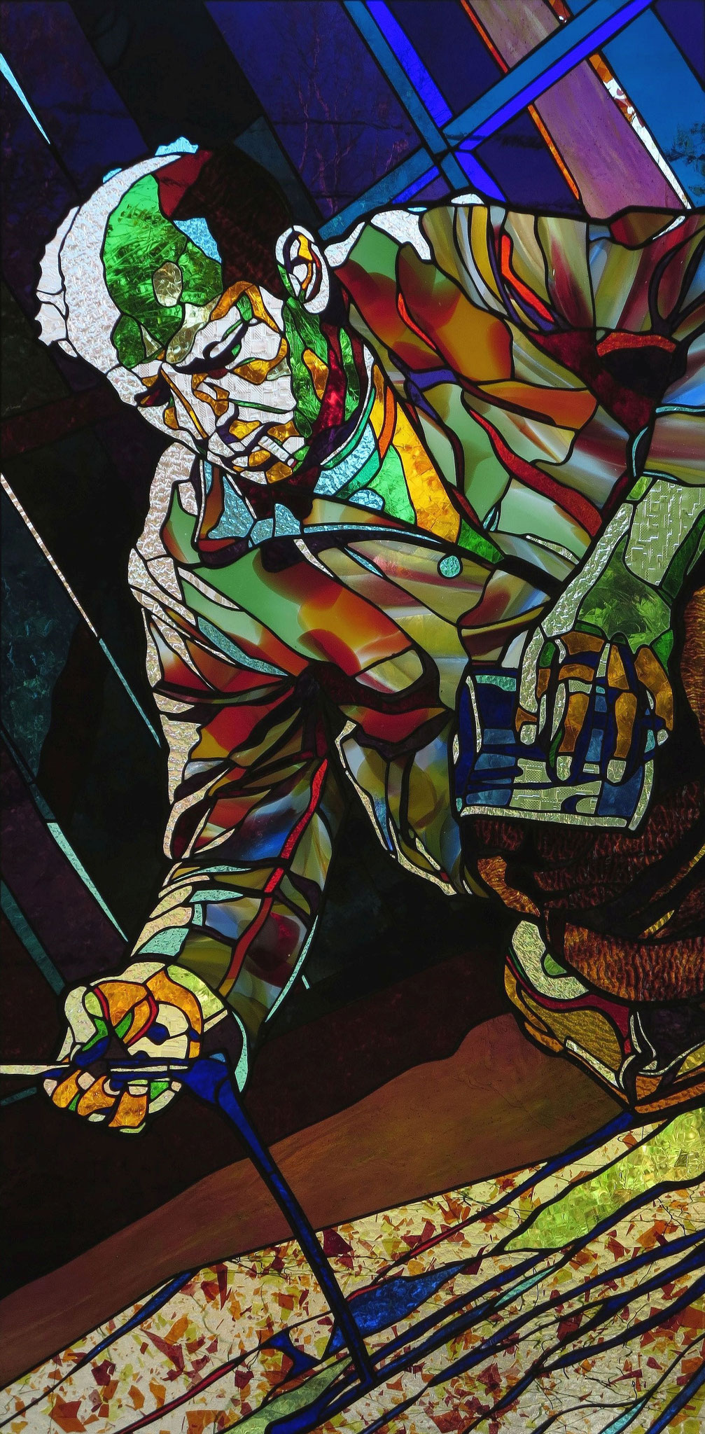 JACKSON POLLOCK   26 x 54 inches stained glass, photo by Hadyn Butler