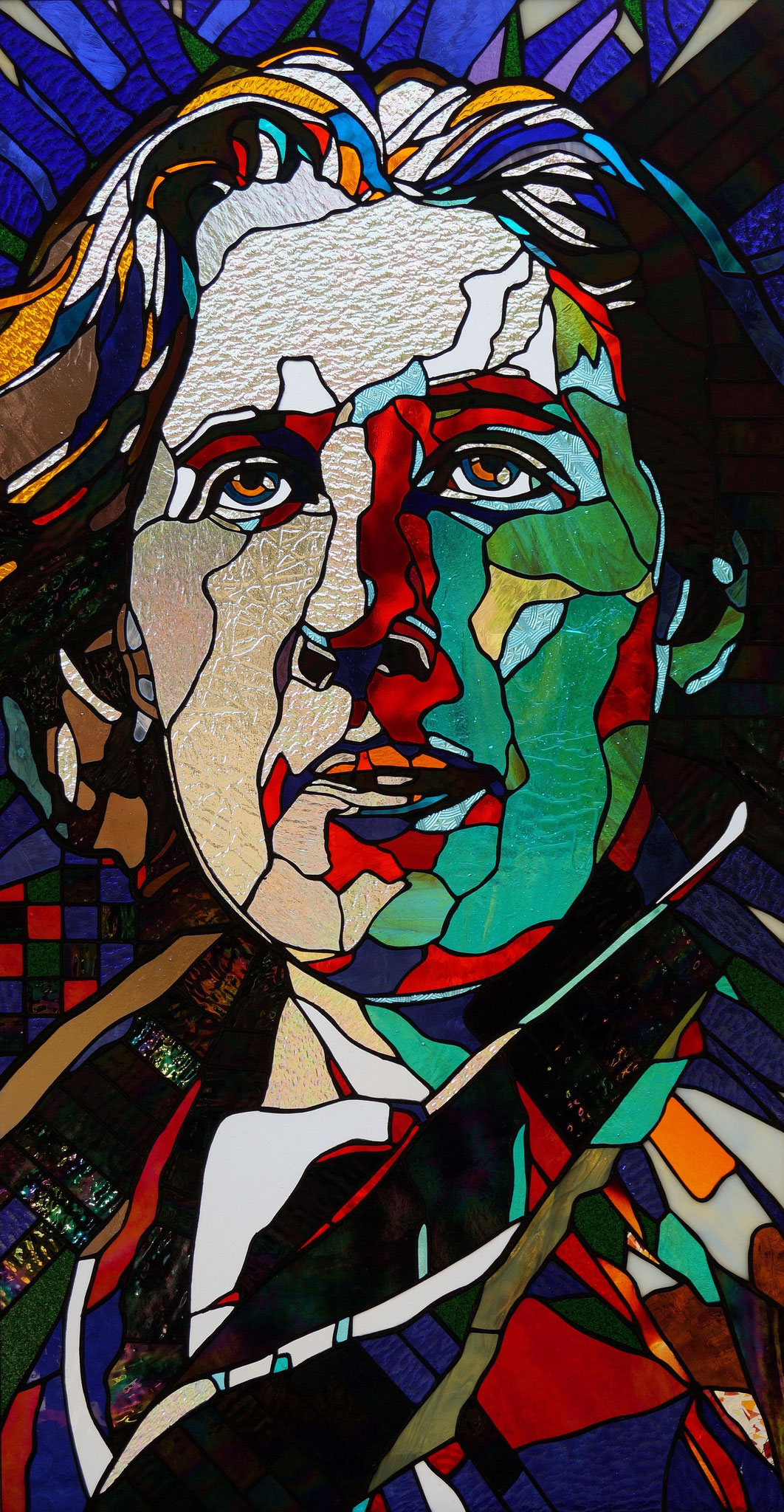 OSCAR WILDE  21 x 42 inches stained glass, photo by Frank Racicot
