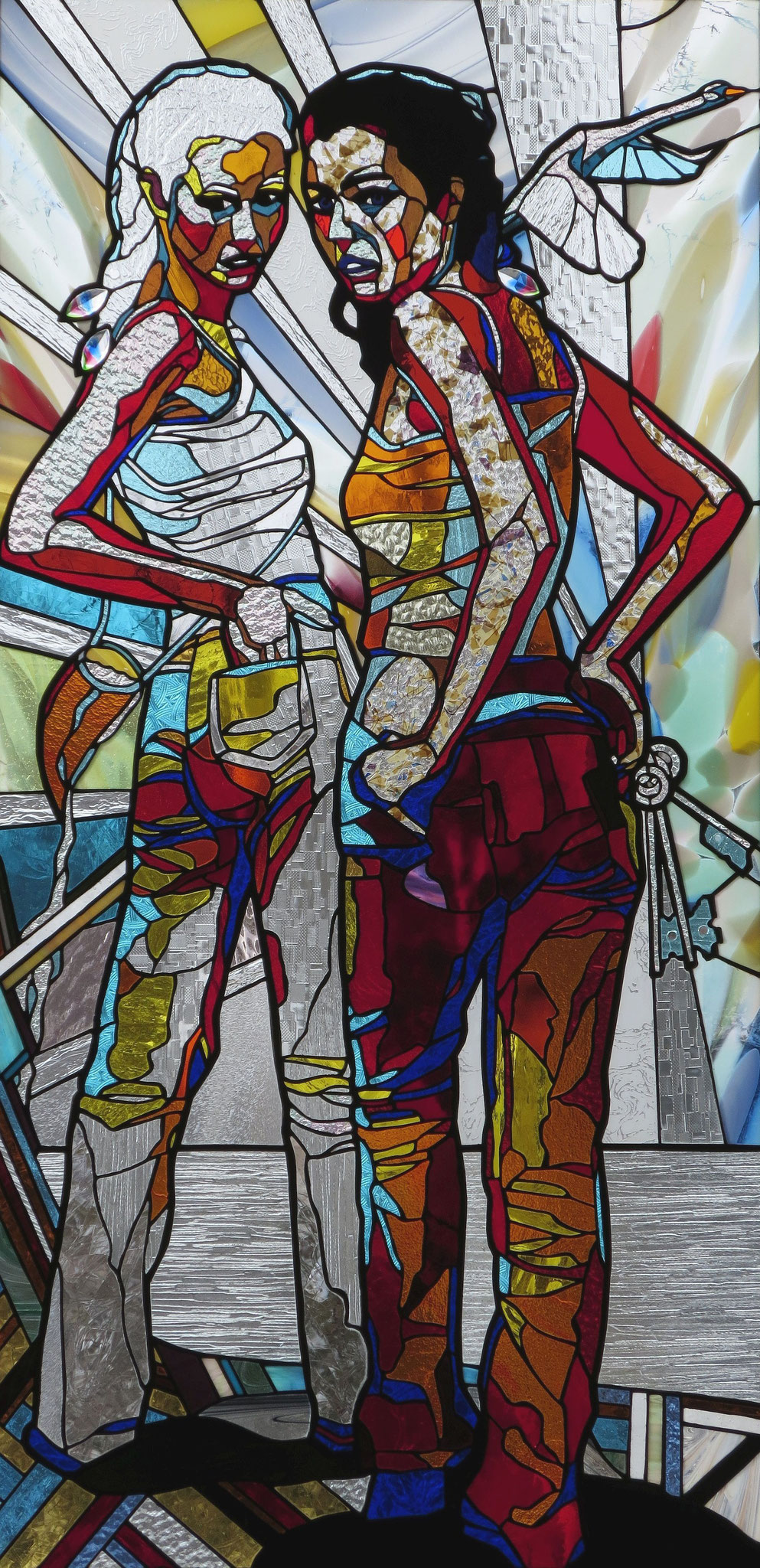 ORIGIN,ABOUT TO HAPPEN AND DEBT  24 x 50 inches stained glass, photo by Hadyn Butler