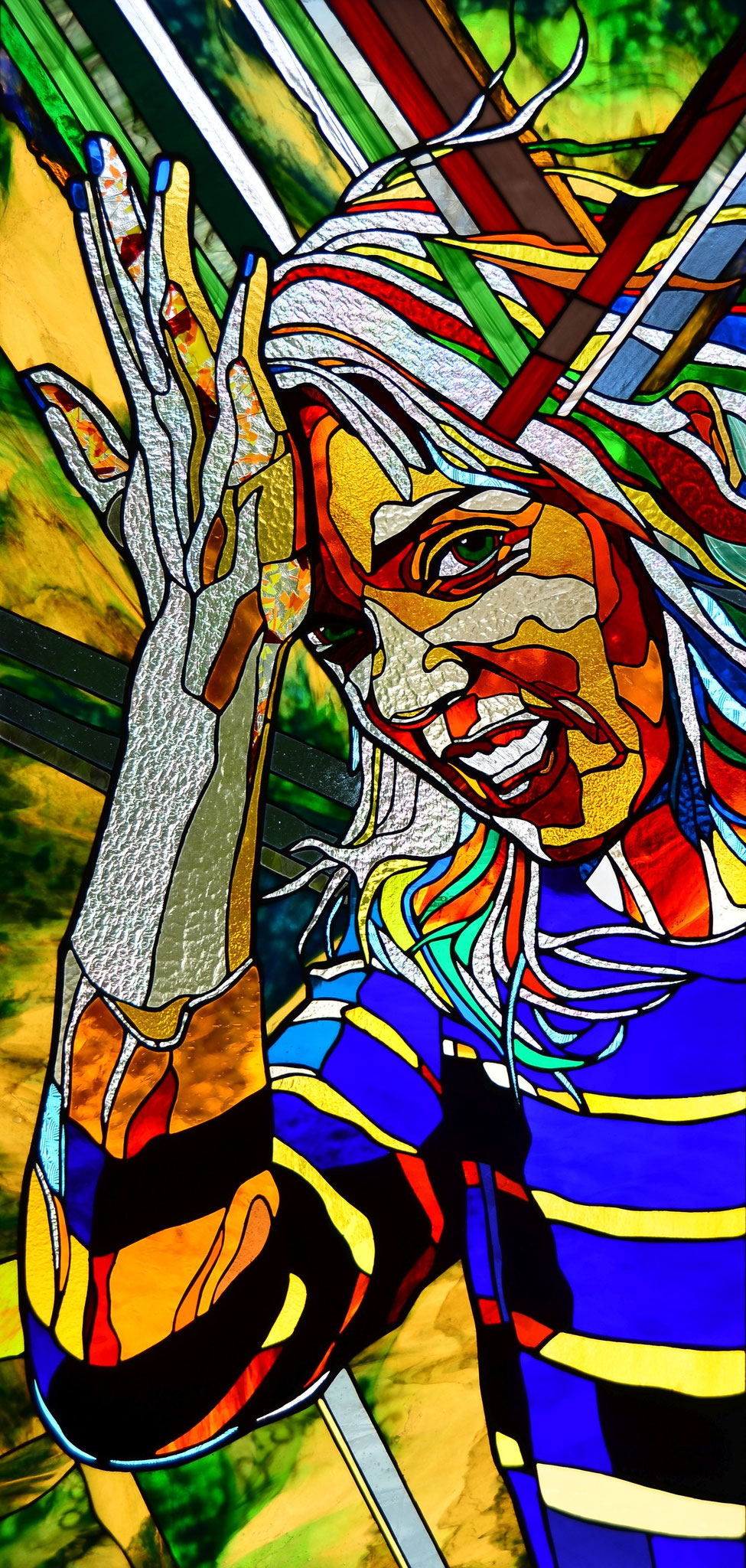DUHH_24 x 49  inches stained glass, photo by Lloyd Howell