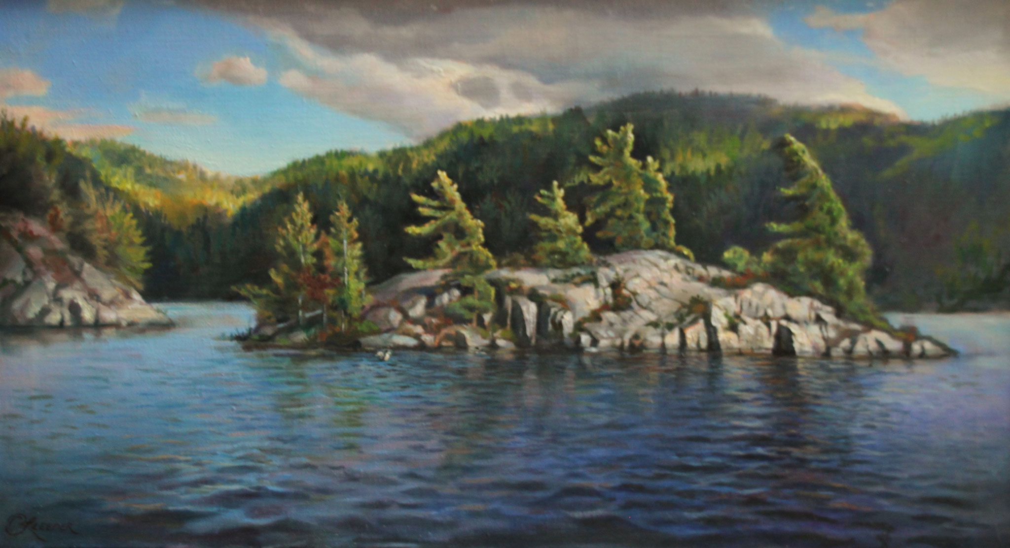 WEBER ISLAND 22 x 40 oil on fine linen by Cyril Leeper