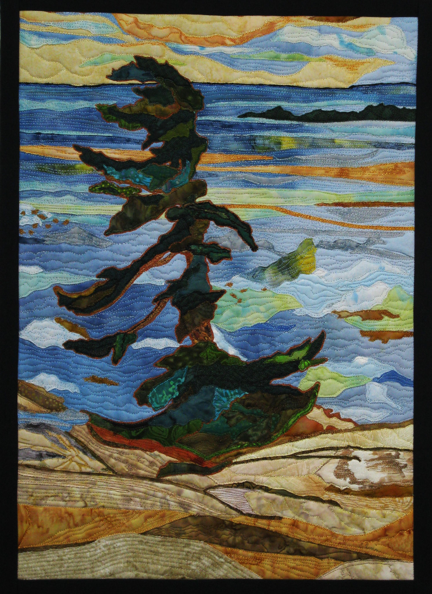 ISLAND PINE 22.5 X 16 Fibre mixed media by Catherine Timm  SOLD