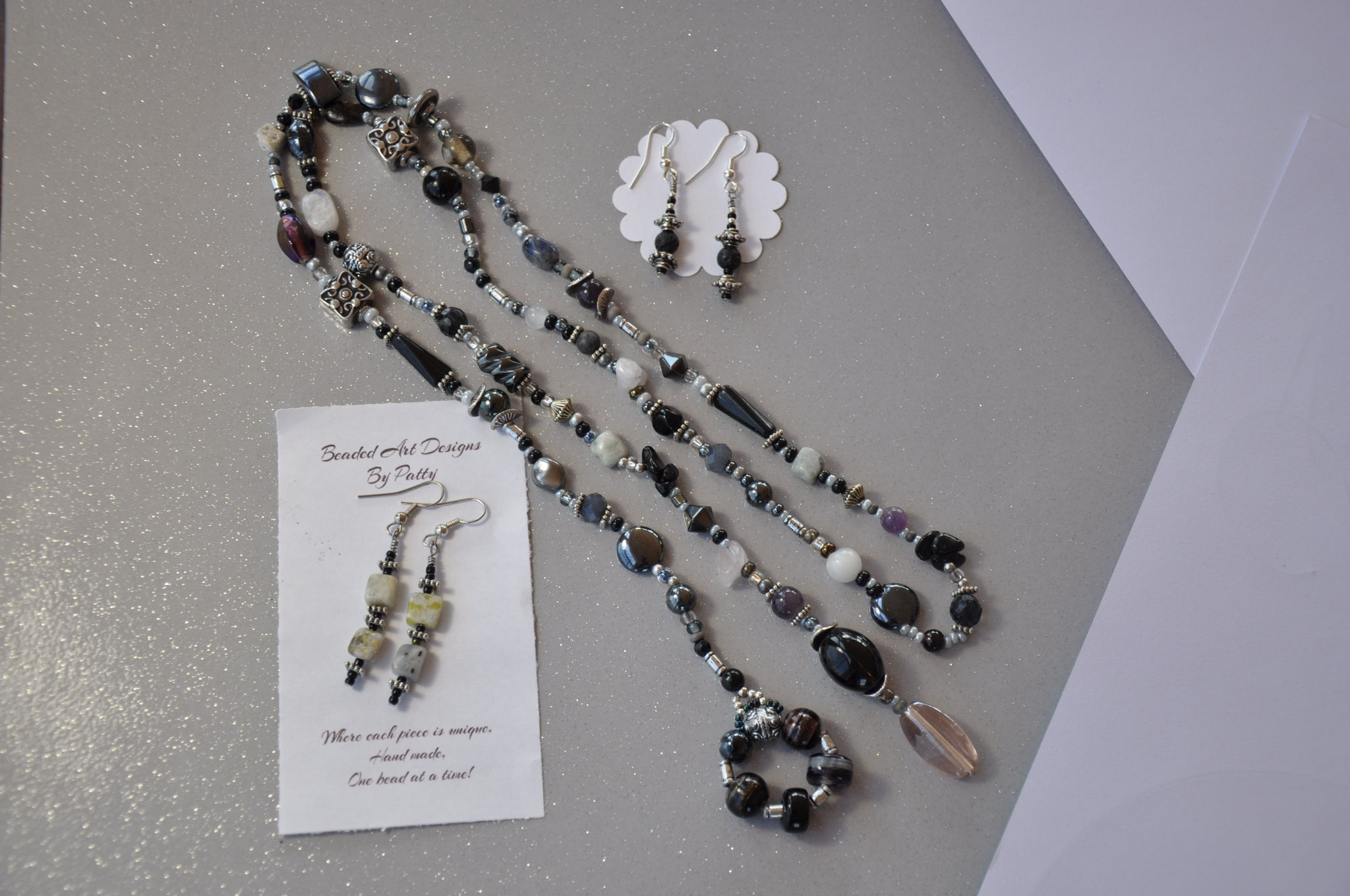 BLACK BEAUTY LARIAT bead and gemstone necklace 60- Earrings 17-