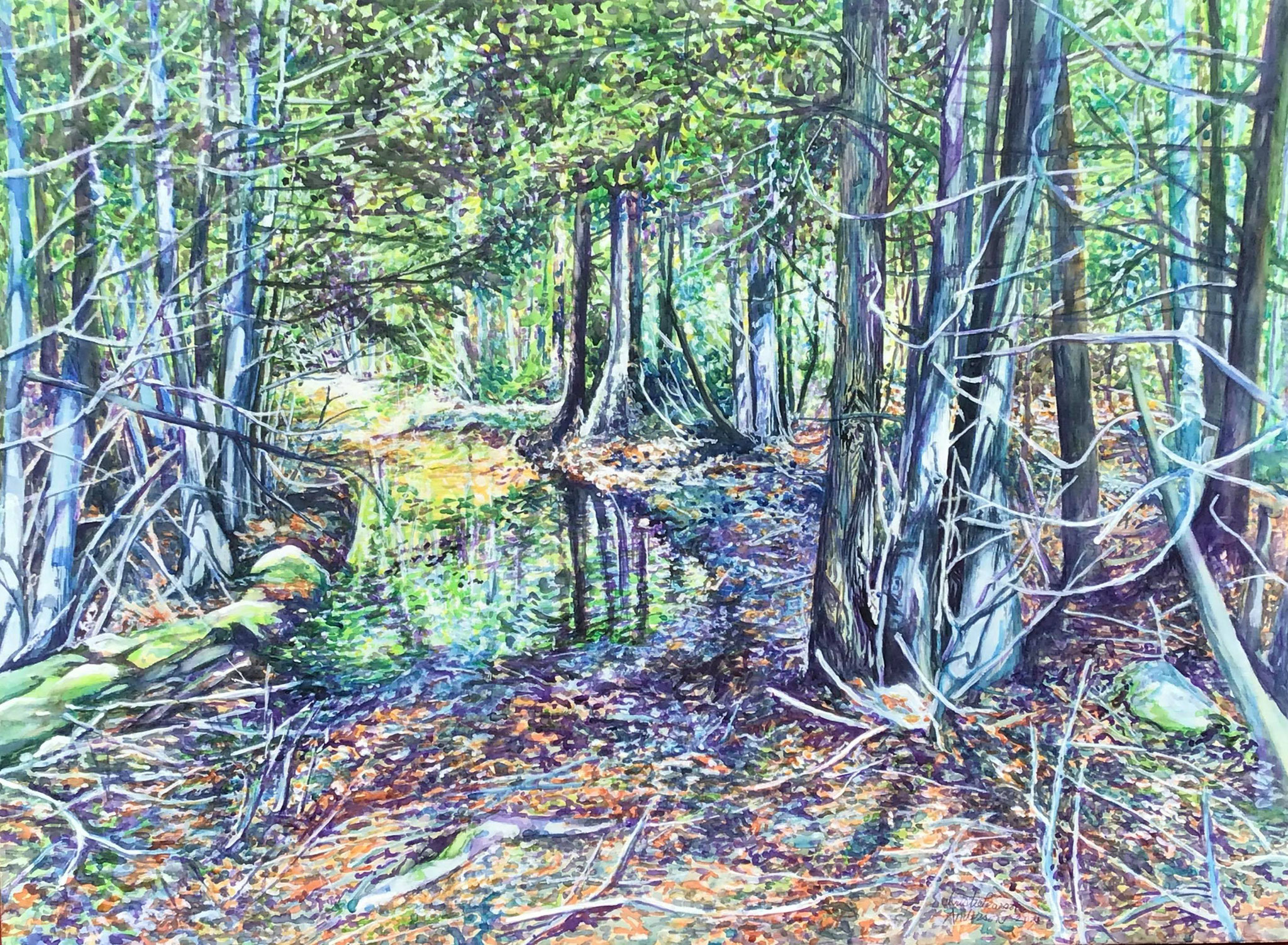 A WALK  IN THE WOODS 22 x 30 Waxed watercolour with gouache on birch panel by Christie Pearson Anderson