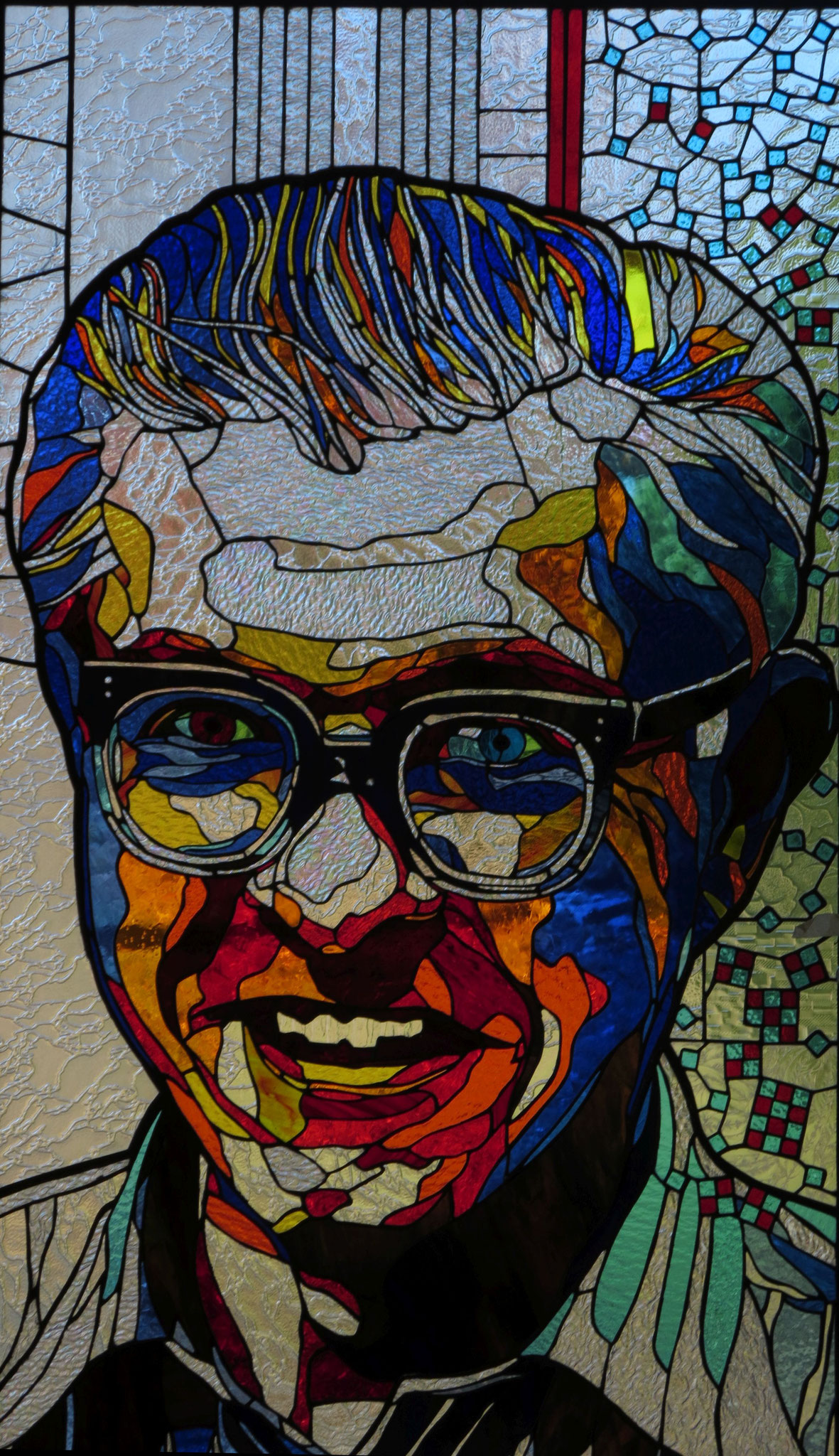 FRED HOYLE  27 by 47 inches stained glass