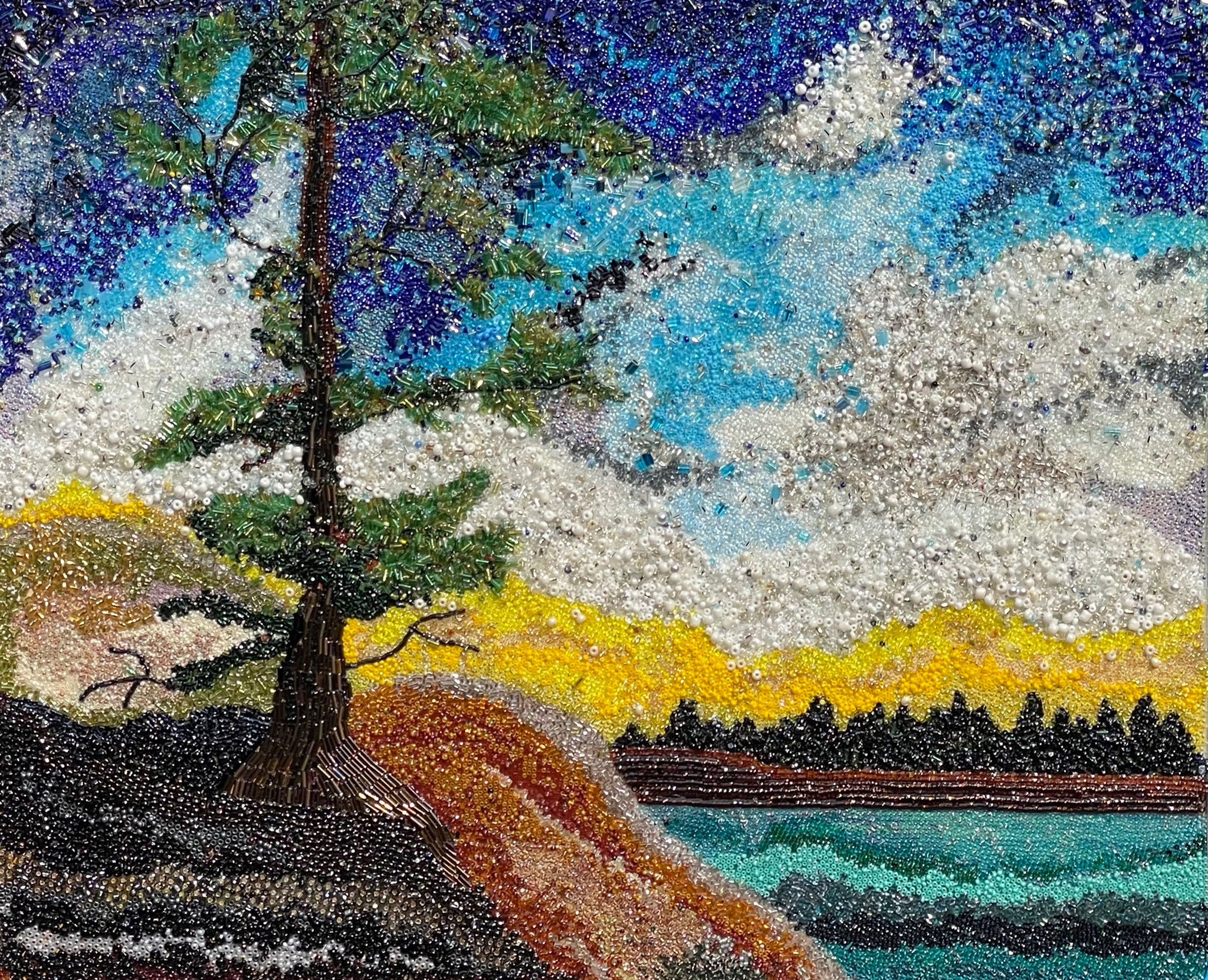 NORTHERN SPARKLE 17.7 x 21 bead mosaic by Patty Leveille
