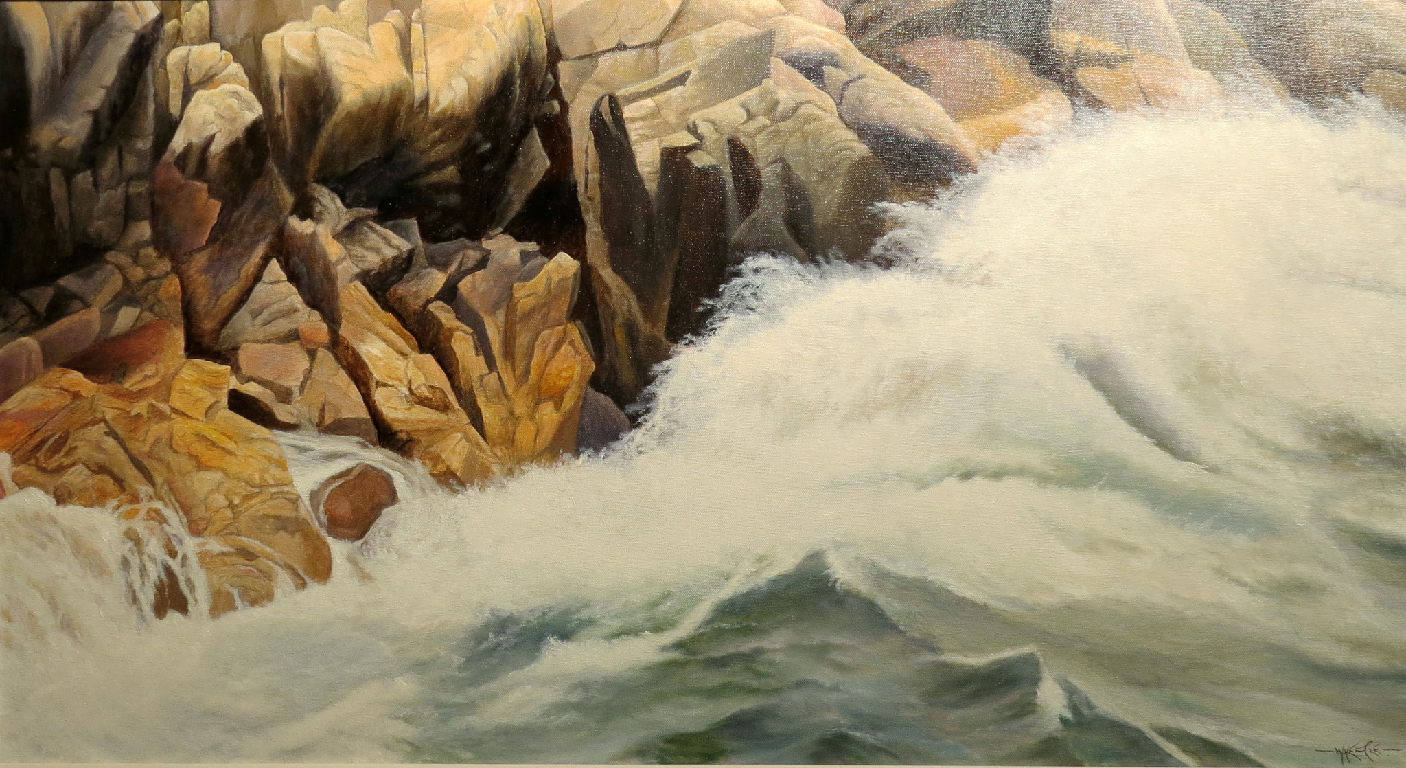 Waves, Lake Superior, Ivan Wheale oil on canvas 20 X 36